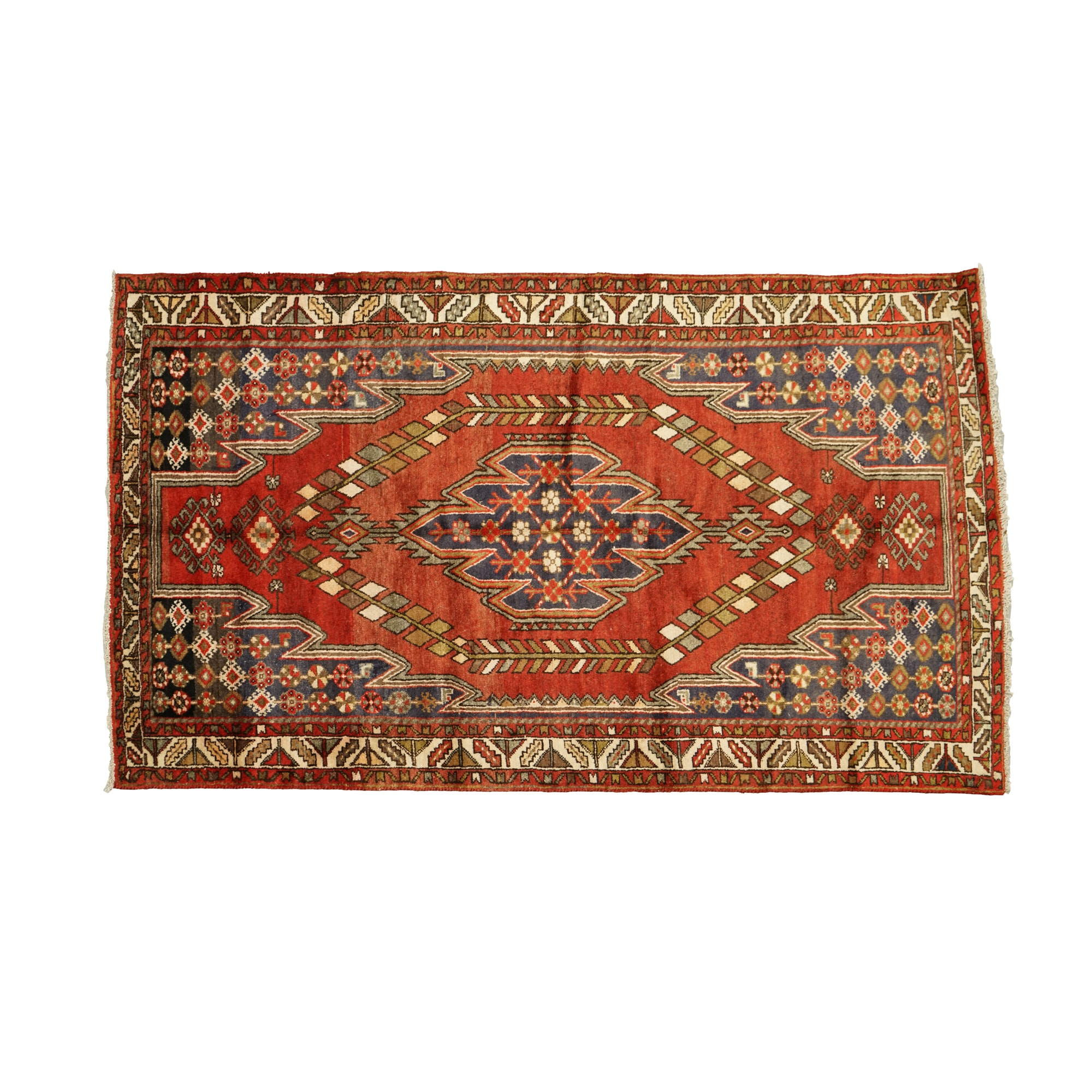 Hand-Knotted Persian Kurdish Mazlaghan Wool Area Rug