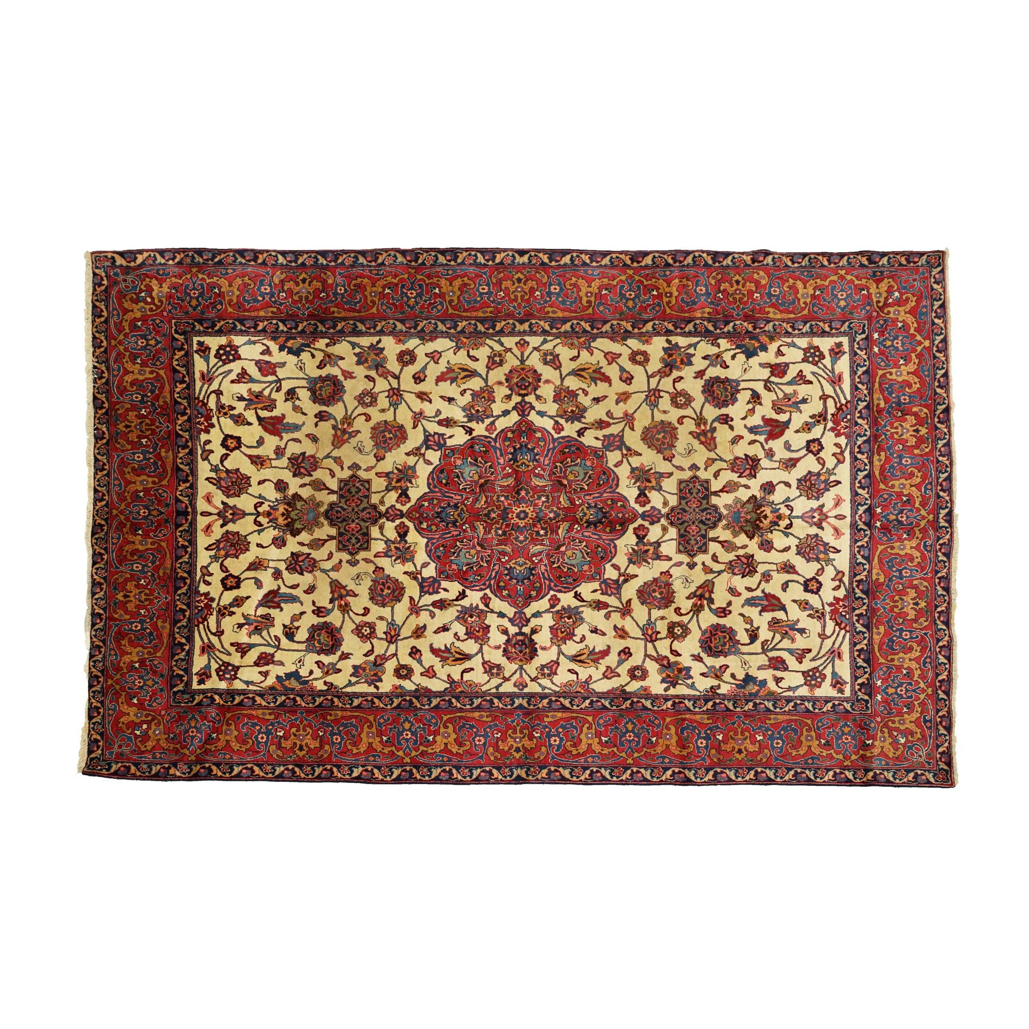 Hand-Knotted Persian Mashhad Wool Area Rug