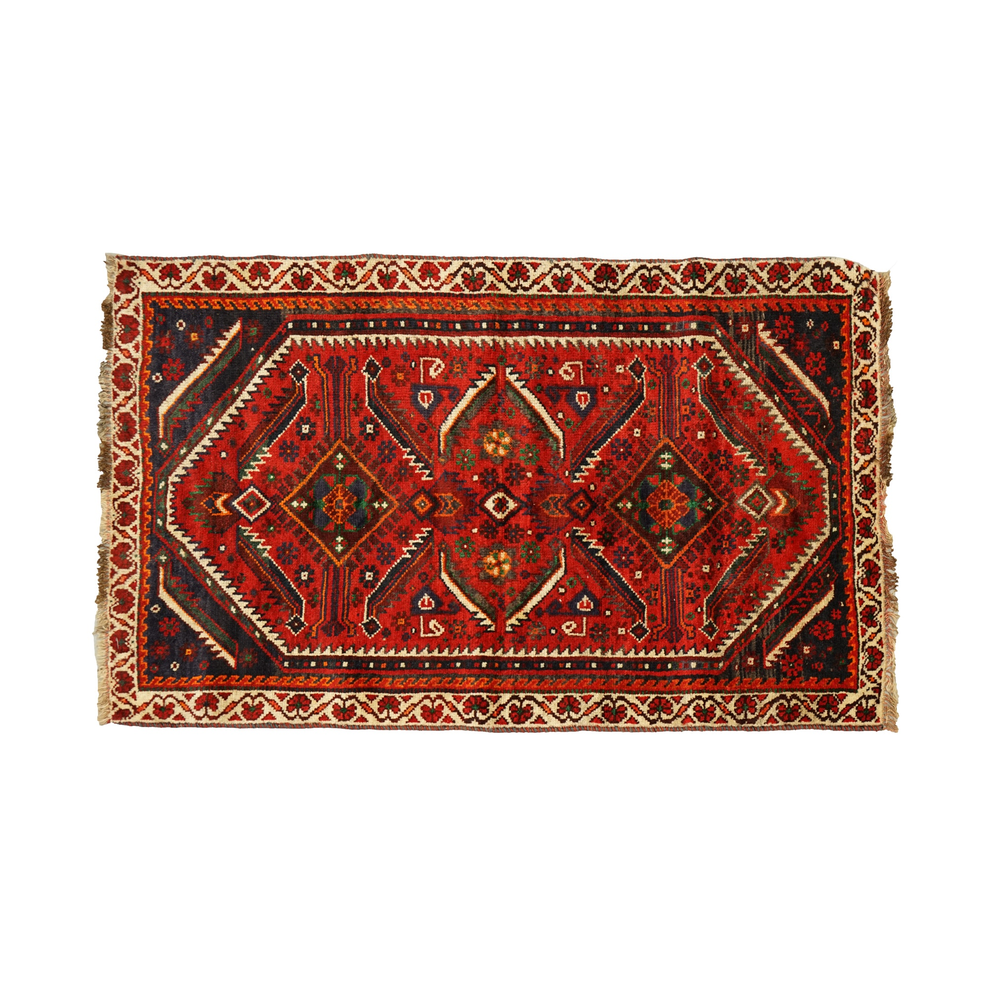 Hand-Knotted Persian Shiraz Wool Accent Rug