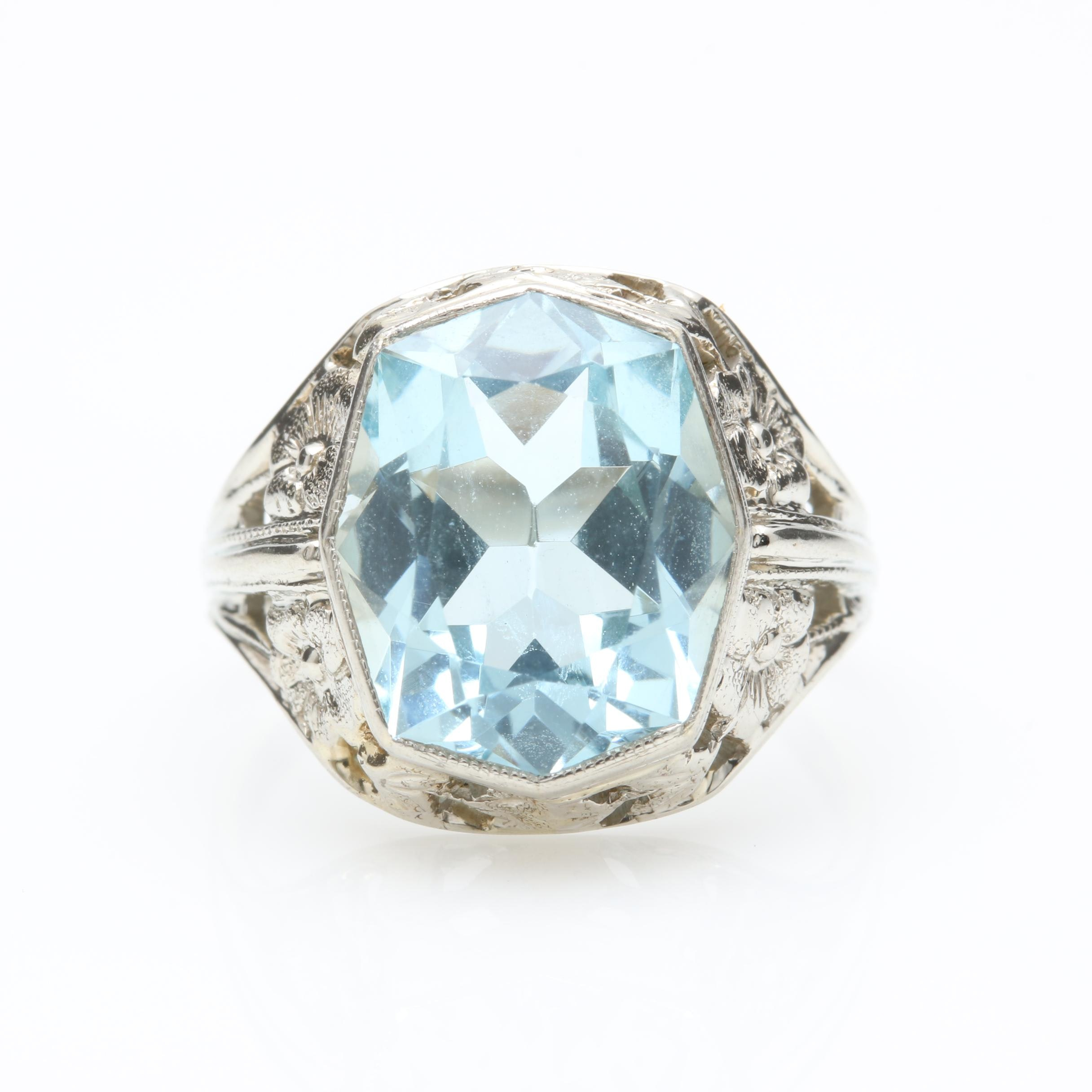 Vintage 18K White Gold 4.15 CT Aquamarine Ring