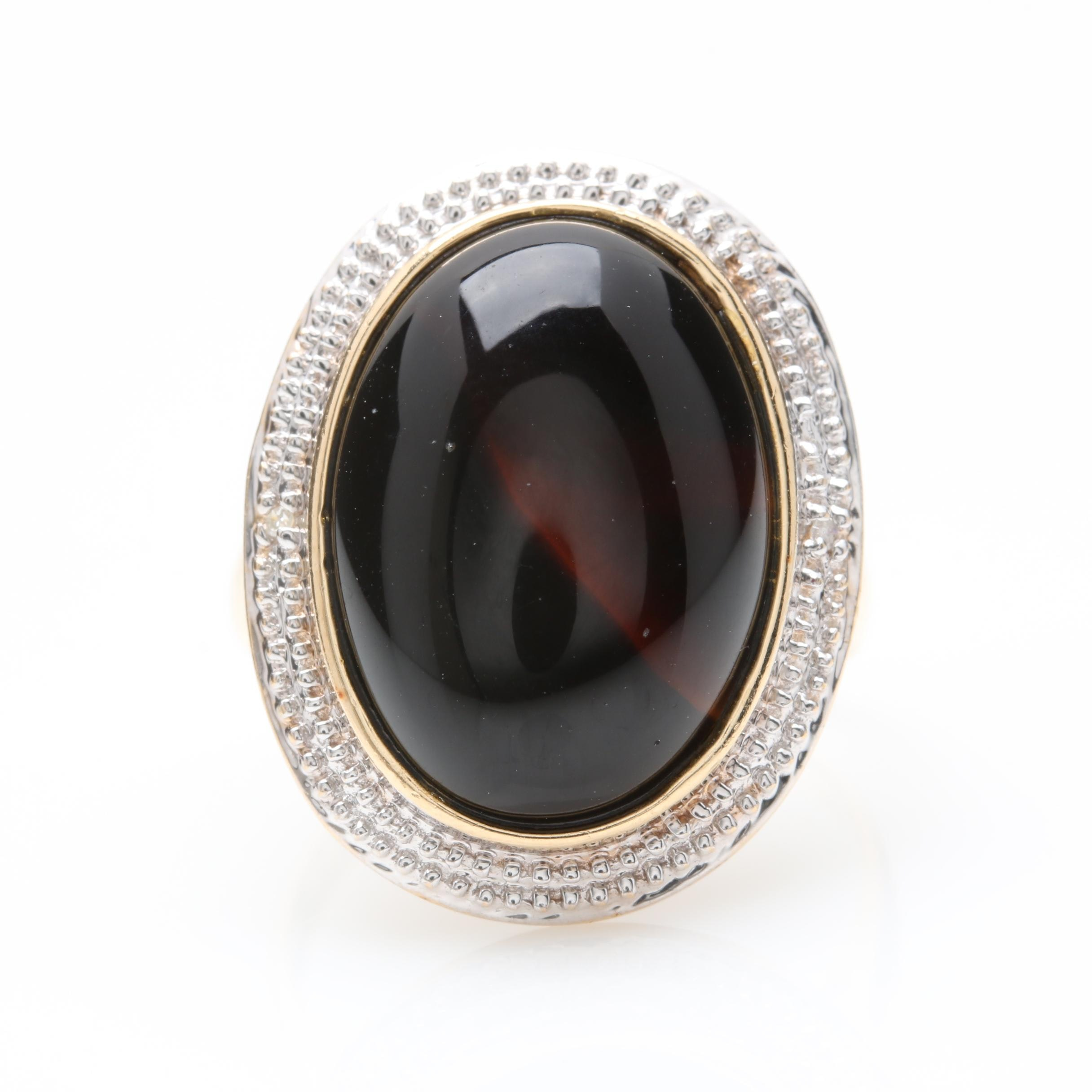 14K Yellow and White Gold Black Onyx and Diamond Ring