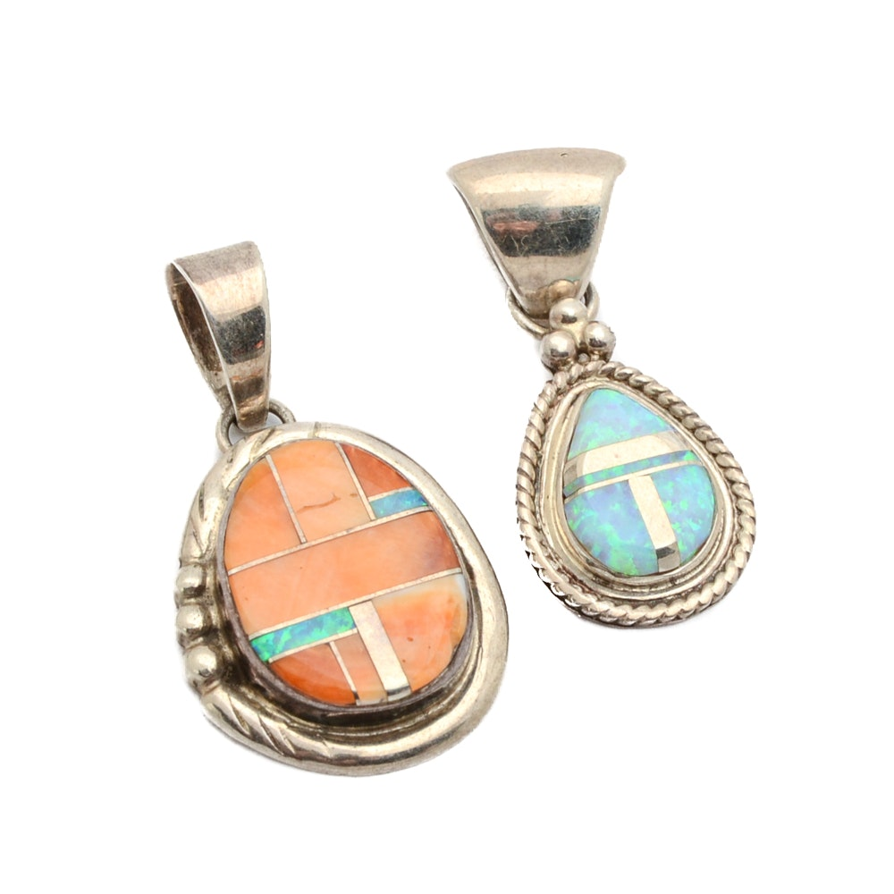 Southwest Style Sterling Silver Mosaic Pendants