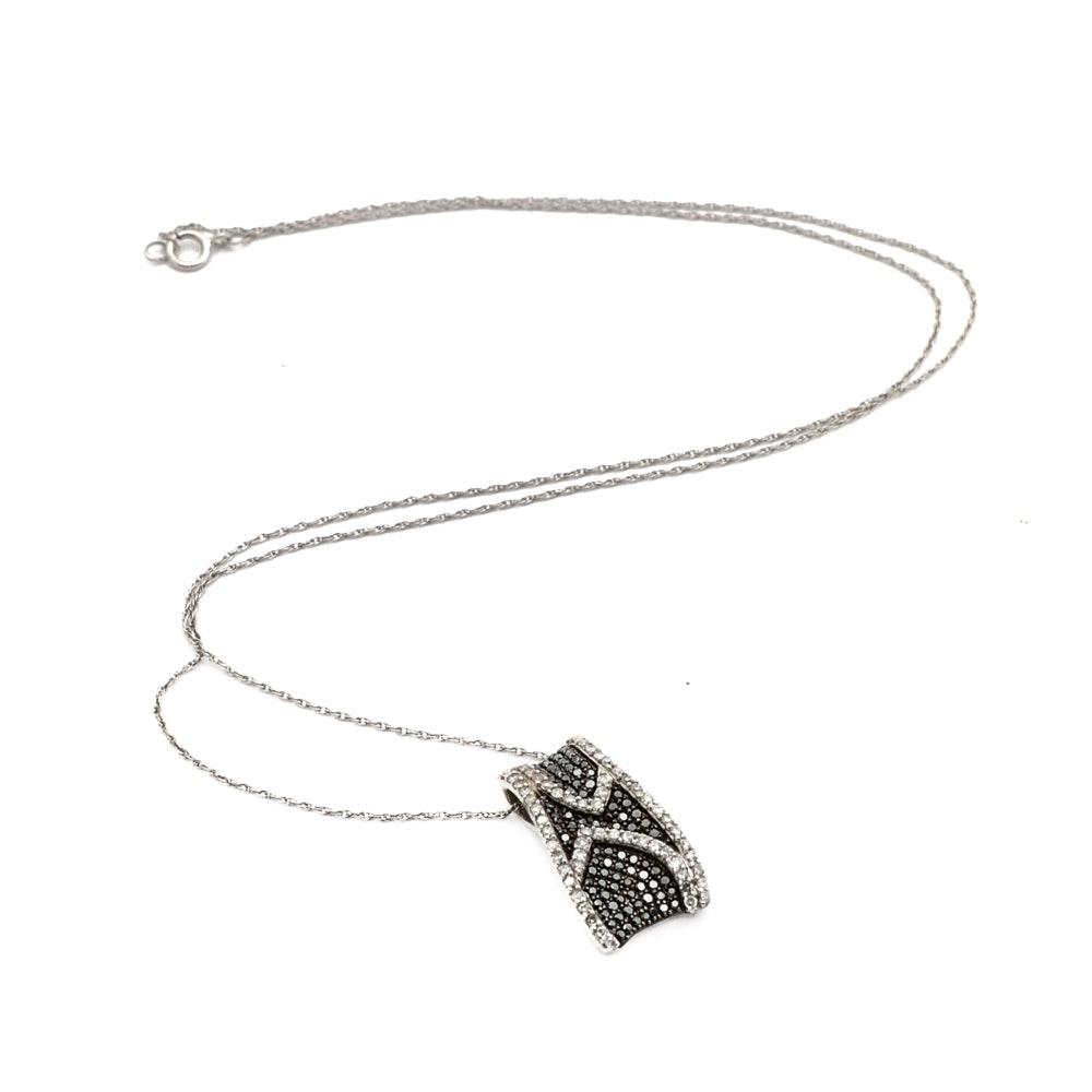 14K White Gold Diamond and Black Diamond Pendant Necklace