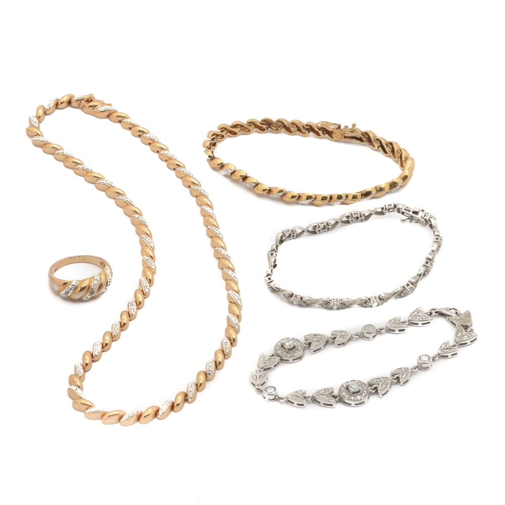 Sterling Silver Tennis Bracelets and Gold Washed Jewelry Set