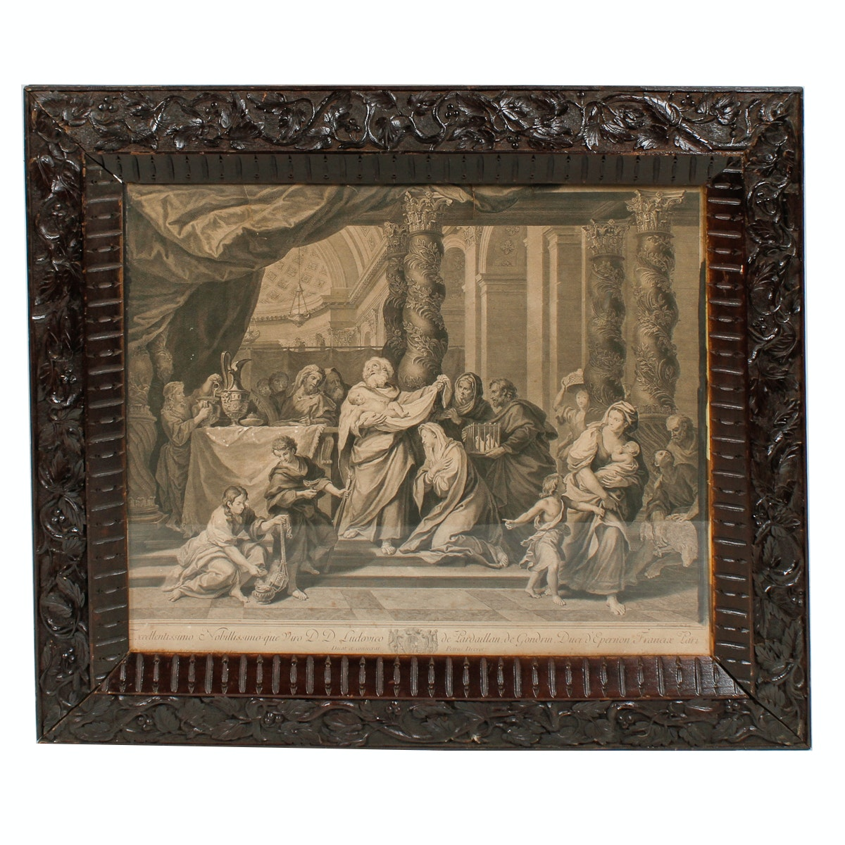 Antique Pierre Drevet Engraving with Ornately Carved Frame