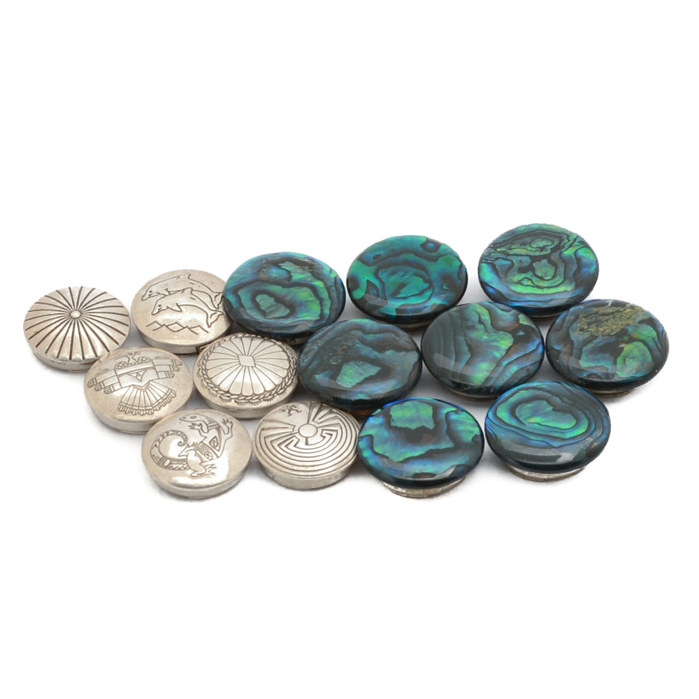 Vintage Button Covers with Sterling Silver or Abalone Tops