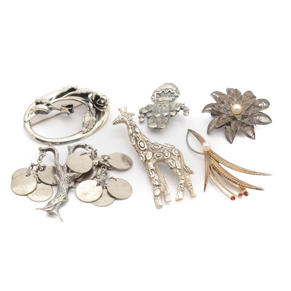 Vintage Sterling and 800 Silver Brooches