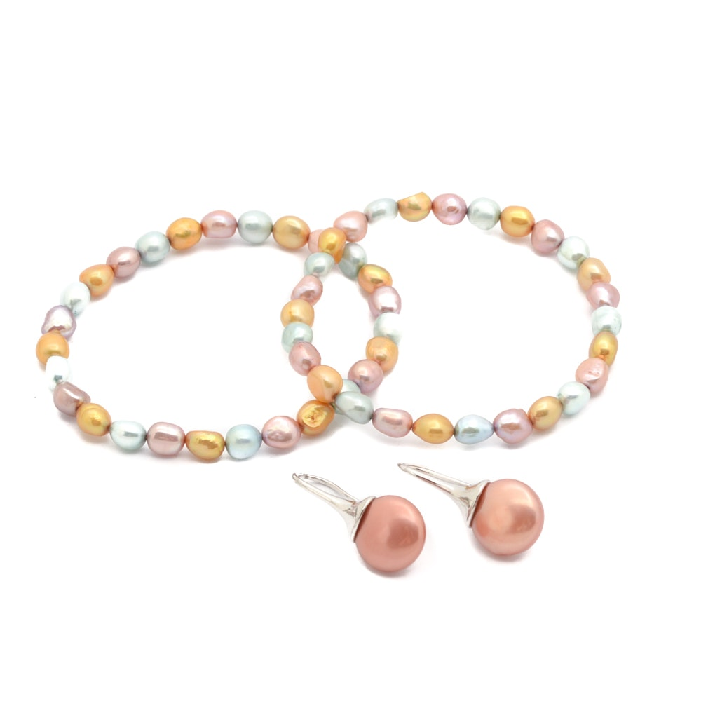 Sterling Silver Honora Coin Pearl Earrings and Two Honora Pearl Bracelets