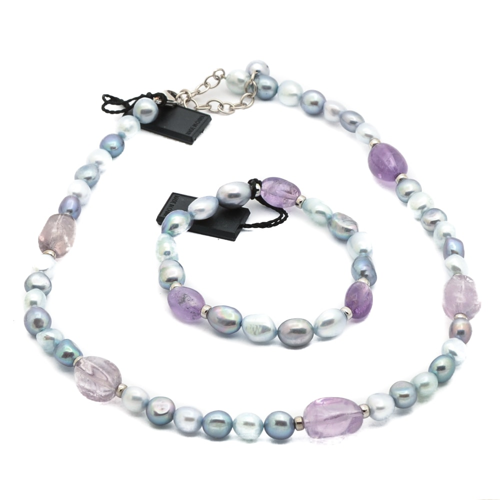 Honora Cultured Sterling Silver Pearl and Amethyst Necklace and Bracelet