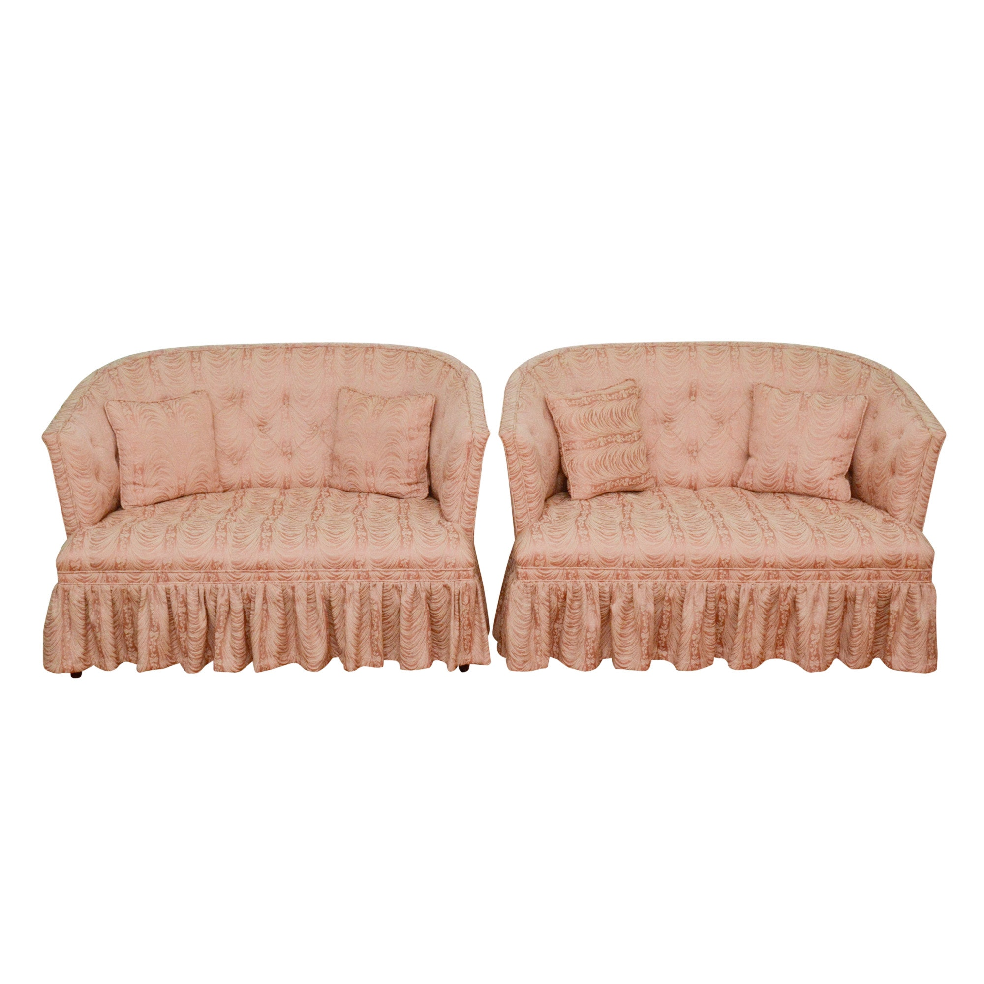 Pair of Pink Upholstered Cabriole Love Seats