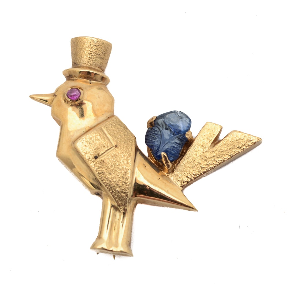 14K Gold Sapphire and Ruby Brooch Bird in Top Hat and Tails