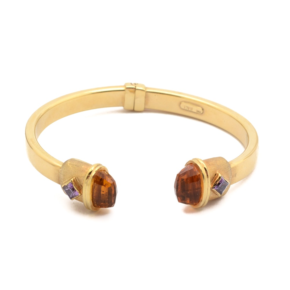 18K Yellow Gold Cuff Bracelet with Citrine and Iolite