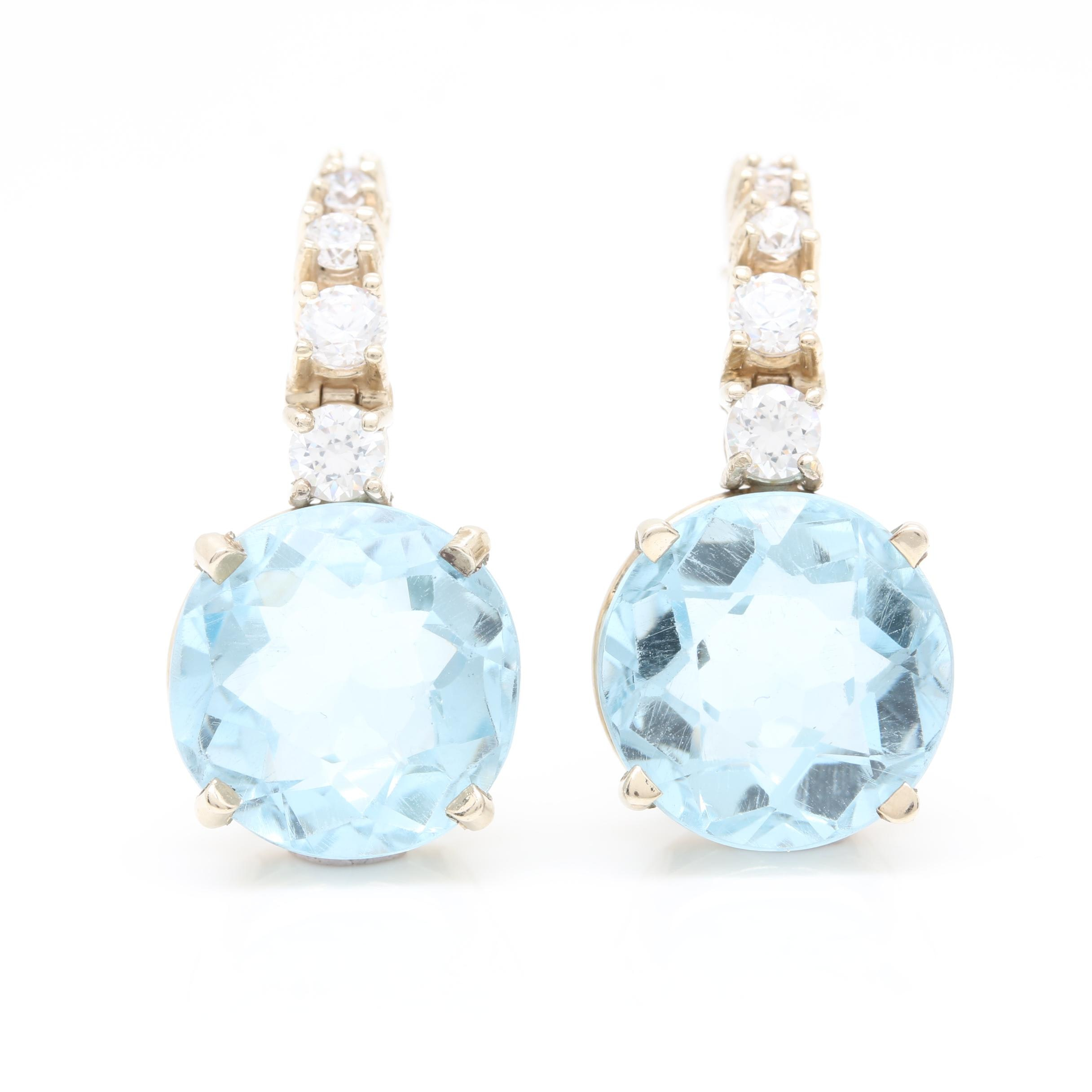 14K Yellow Gold Blue Topaz and Cubic Zirconia Earring Jackets