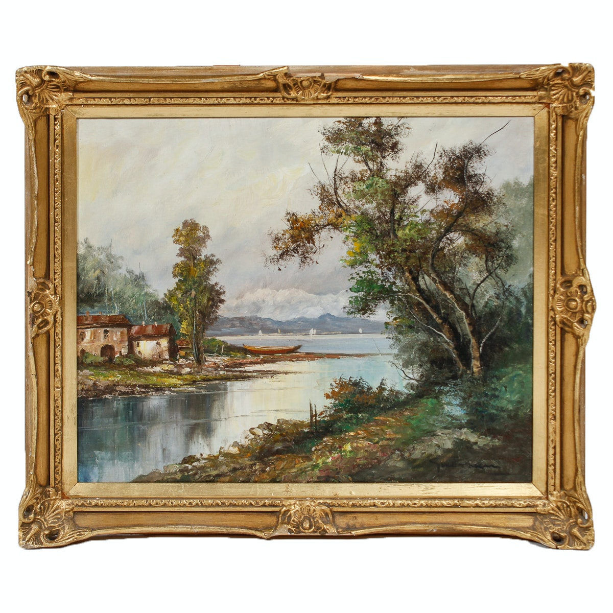 Signed Oil Painting of Waterfront Landscape