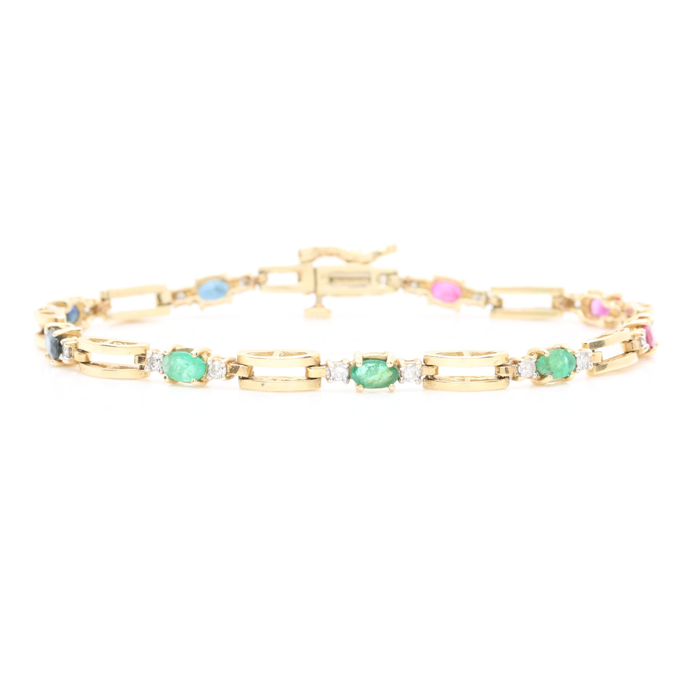 14K Yellow Gold Ruby, Emerald, Blue Sapphire, and Diamond Link Bracelet
