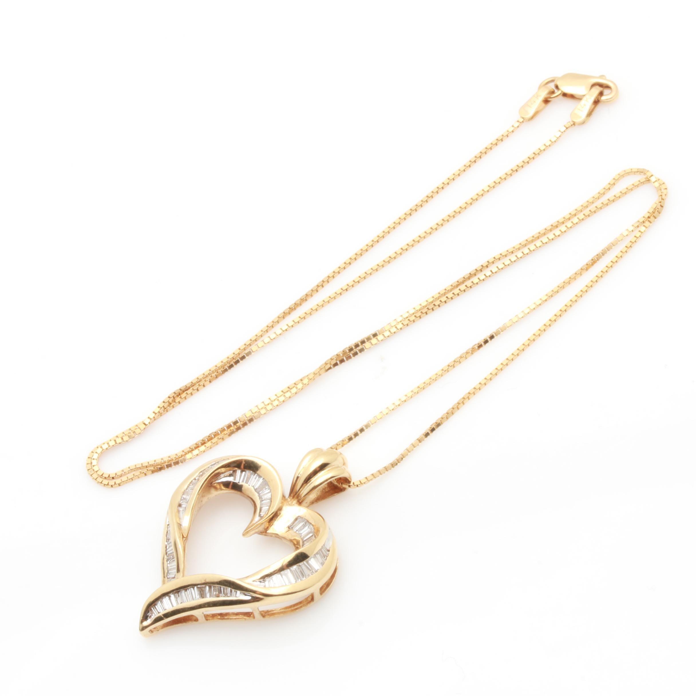 14K Yellow Gold Diamond Openwork Heart Pendant Necklace