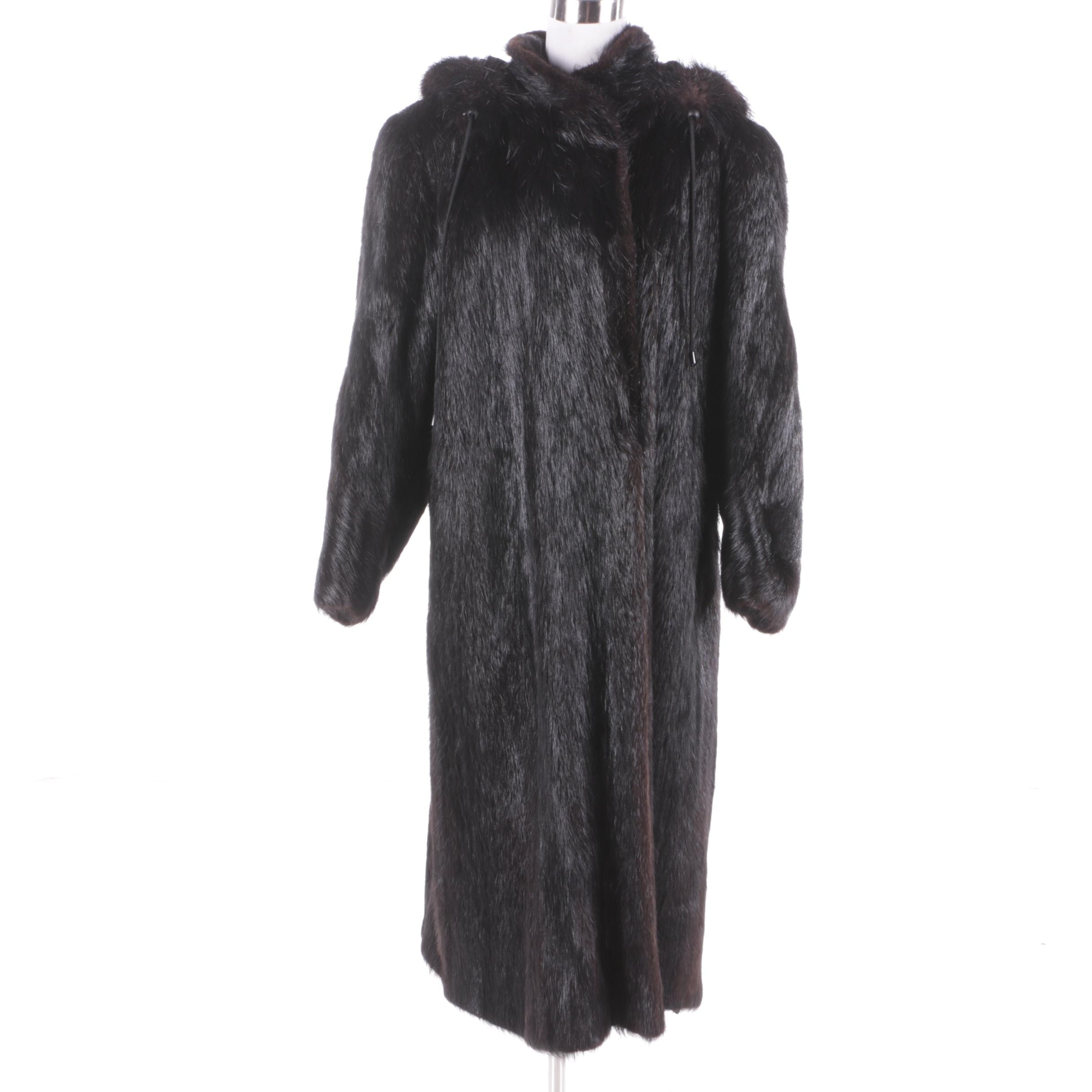 Women's Vintage Barth-Wind Dyed Nutria Fur Coat with Hood