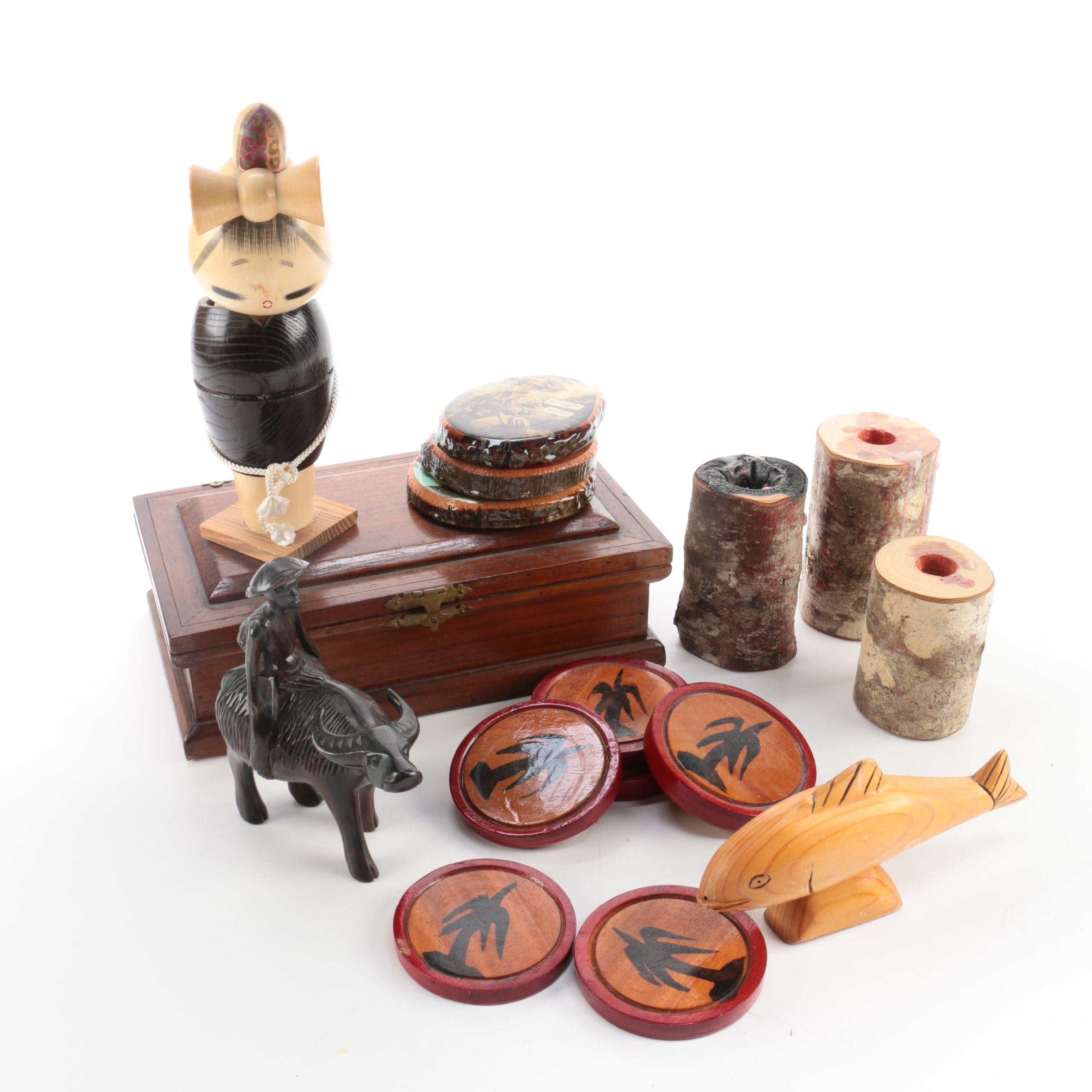 Wooden Hinged Box, Candle Holders, Figurines and Coasters