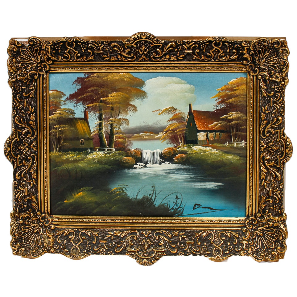 Signed Oil Landscape Painting