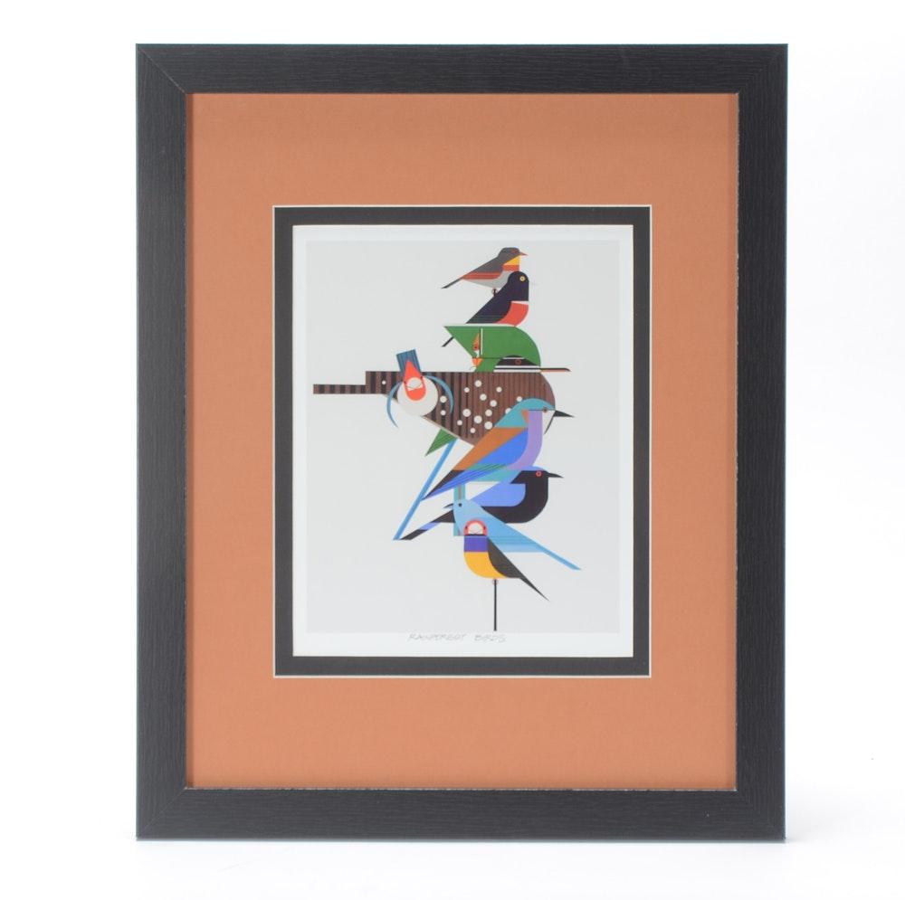 "Charley Harper Offset Lithograph ""Rainforest Birds"""