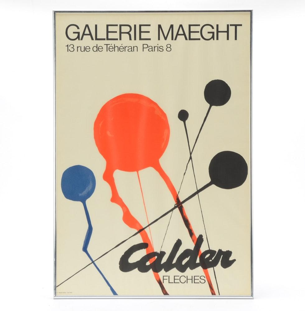 "1968 Alexander Calder Galerie Maeght Exhibition Poster ""Fleches"""