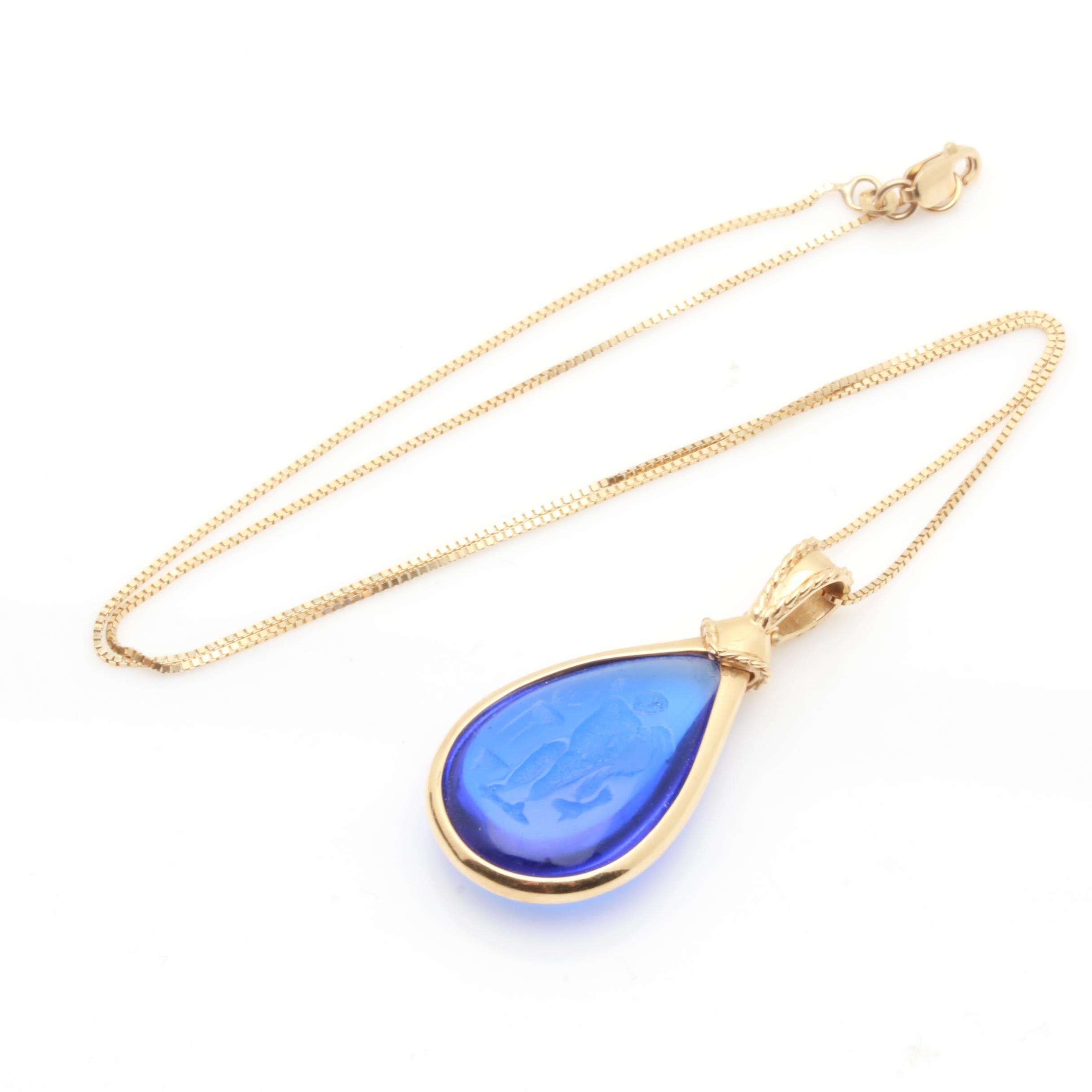 14K Yellow Gold Blue Glass Intaglio Pendant Necklace