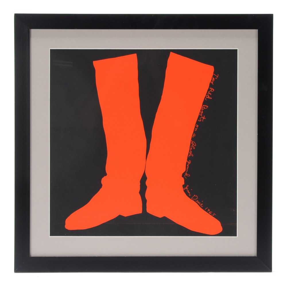 """Jim Dine Serigraph """"Two Red Boots on a Black Ground"""""""