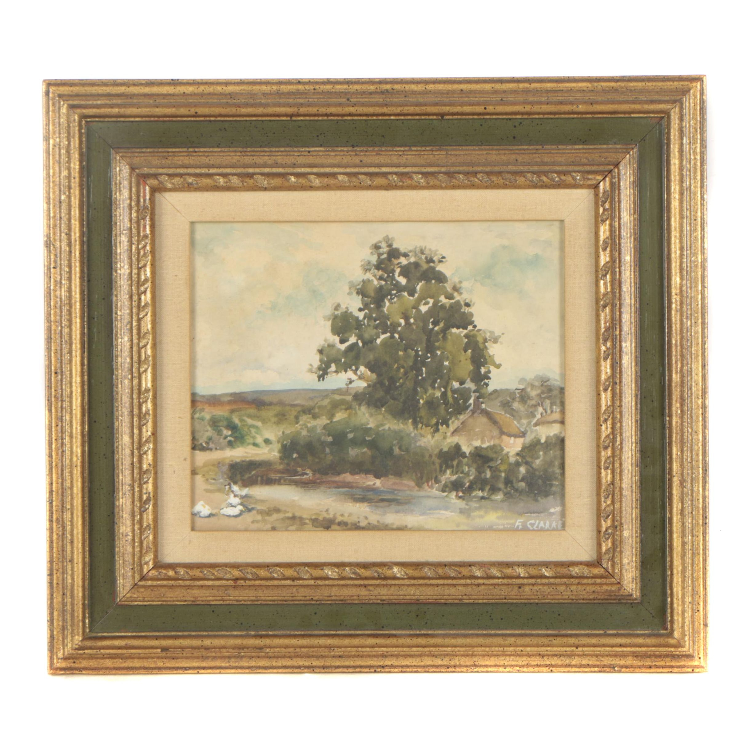 F. Clarke Watercolor Painting of Impressionist-Style Rural Landscape