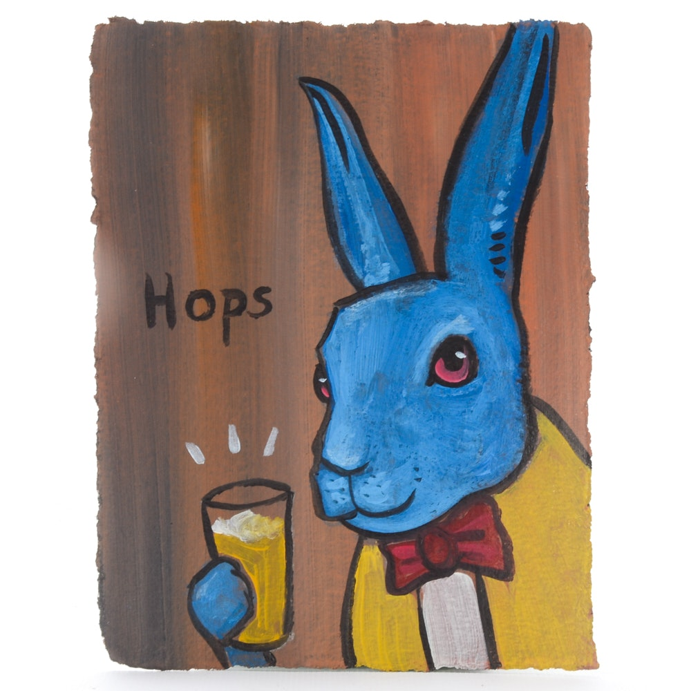 N. Scott Carroll Outsider Pop Art Acrylic Painting of Bunny with Beer