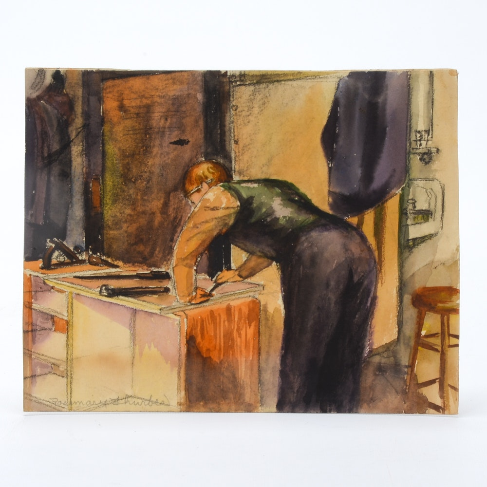 Rosemary Thurber Watercolor Painting of Man Working in Studio