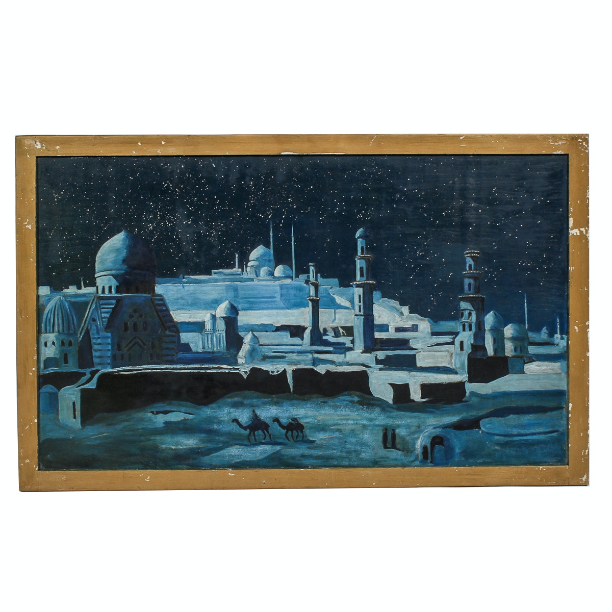 Mid Century Acrylic Painting on Board of Arabian Night Scene