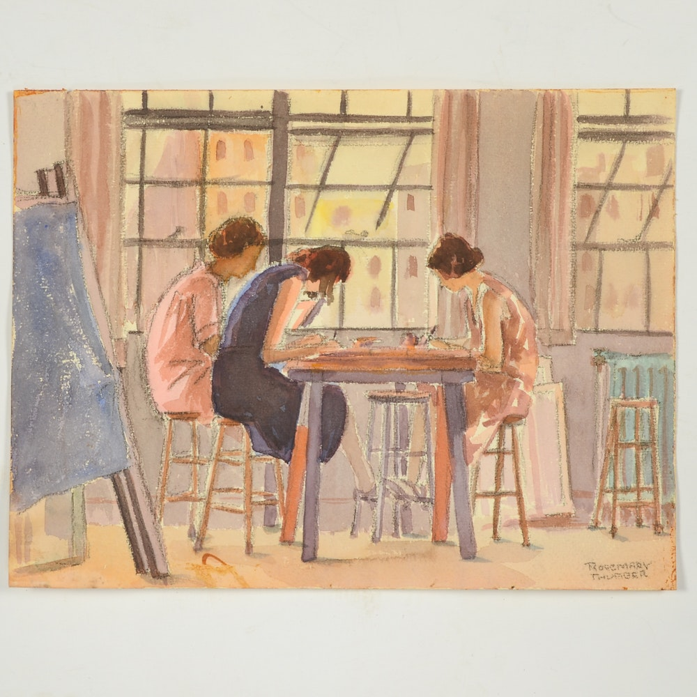 Rosemary Thurber Watercolor Painting of Women in Studio