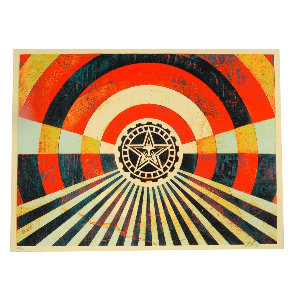 "Signed and Numbered Shepard Fairey Screenprint ""Tunnel Vision"""