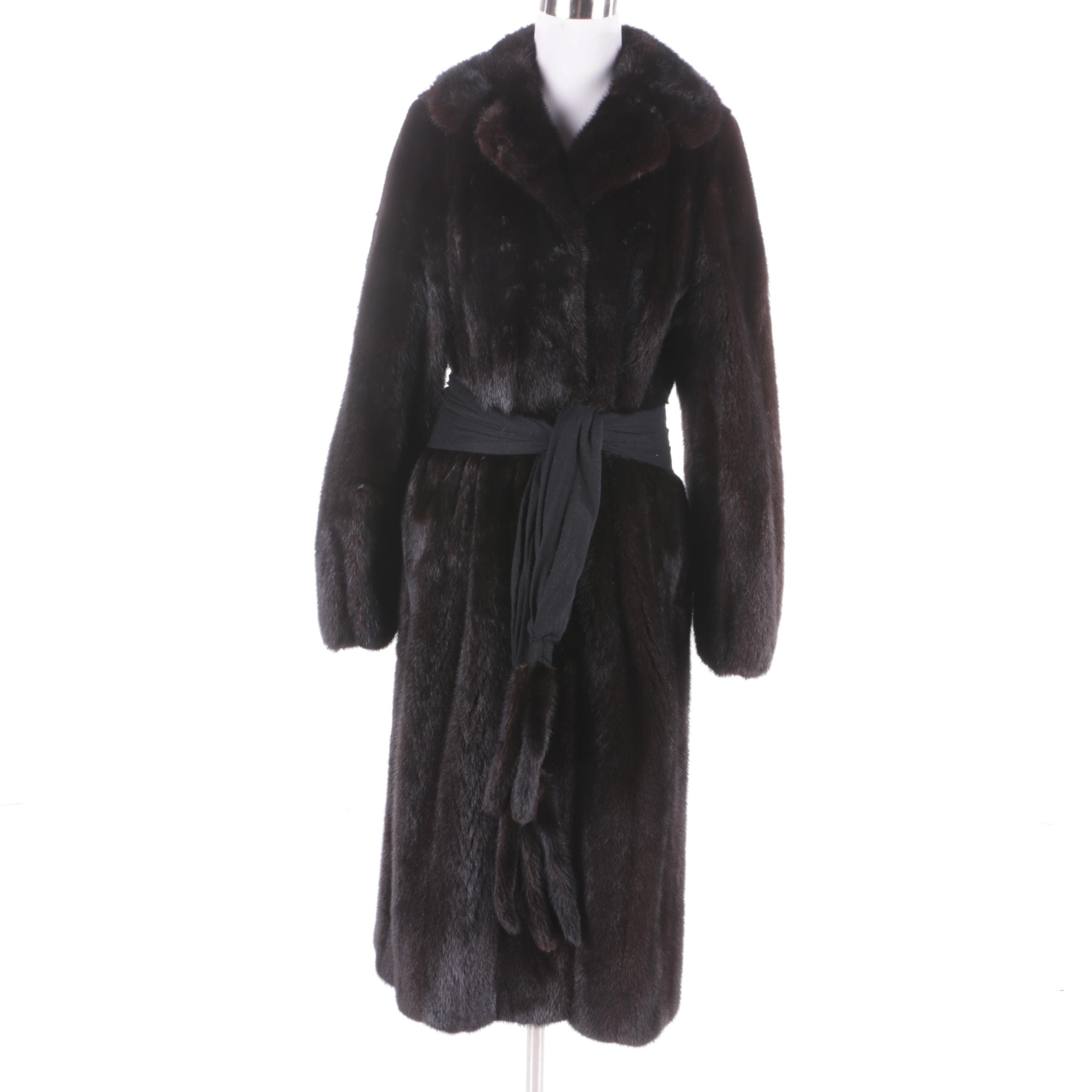 Women's Vintage Barth-Wind Dark Mahogany Mink Fur Coat with Cinch Belt