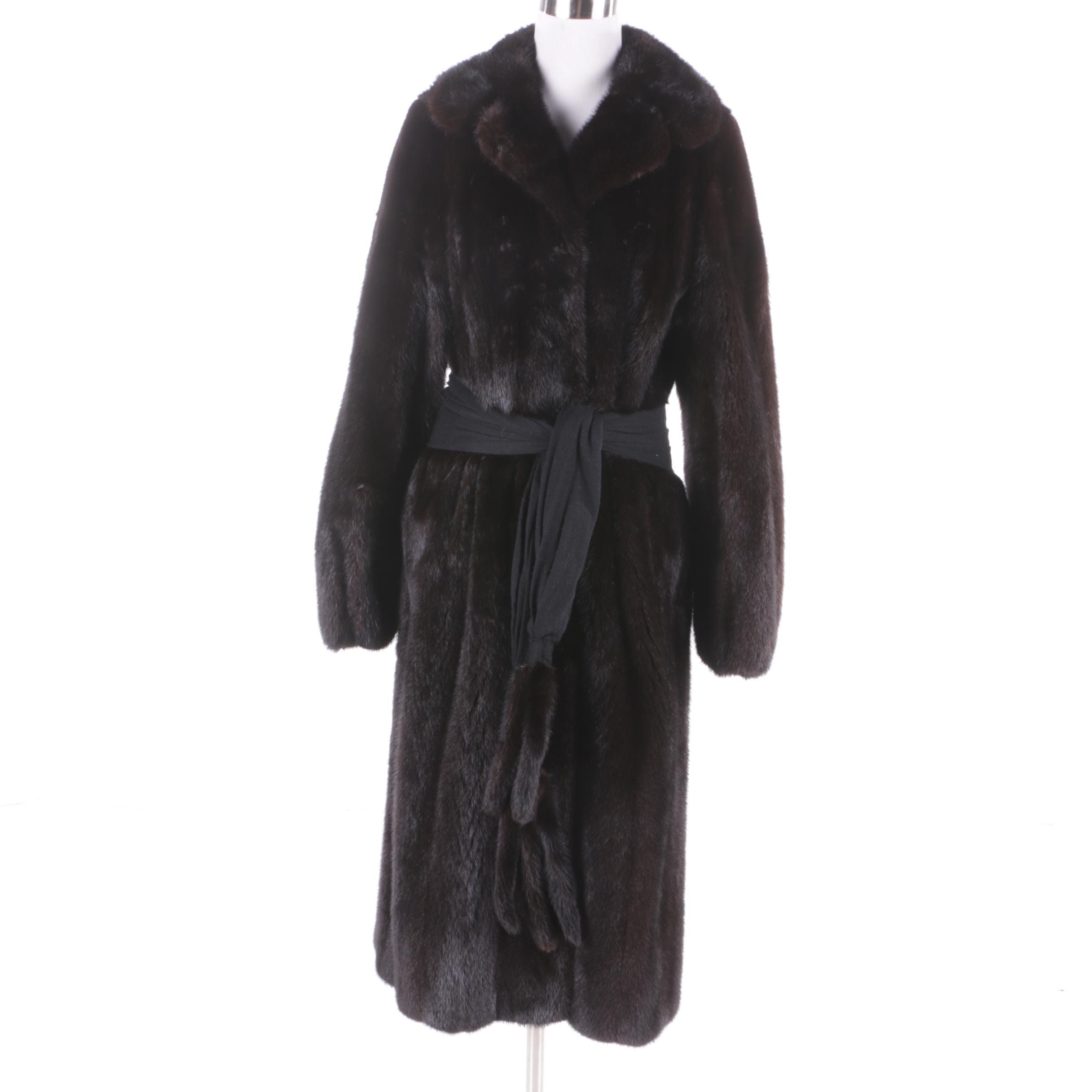 Women's Vintage Barth-Wind Dark Mahogany Mink Fur Coat with Scarf