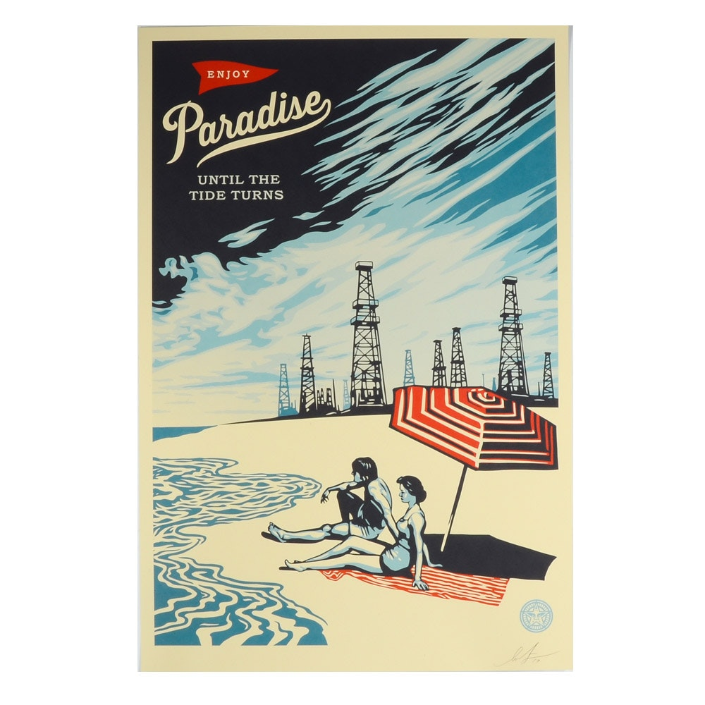 "Shepard Fairey Signed Offset Print ""Paradise Turns"""