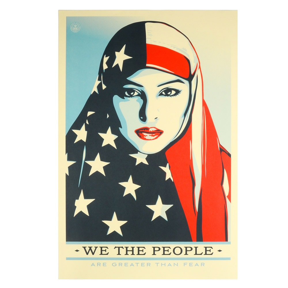 "Shepard Fairey Offset Poster ""We the People: Are Greater Than Fear"""