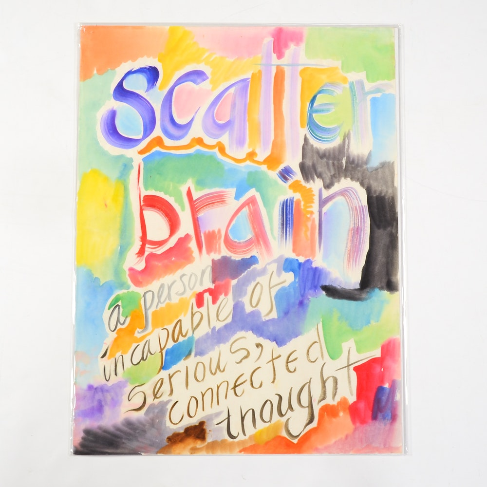 "Carol J. Mathews Watercolor Painting ""Scatter Brain"""