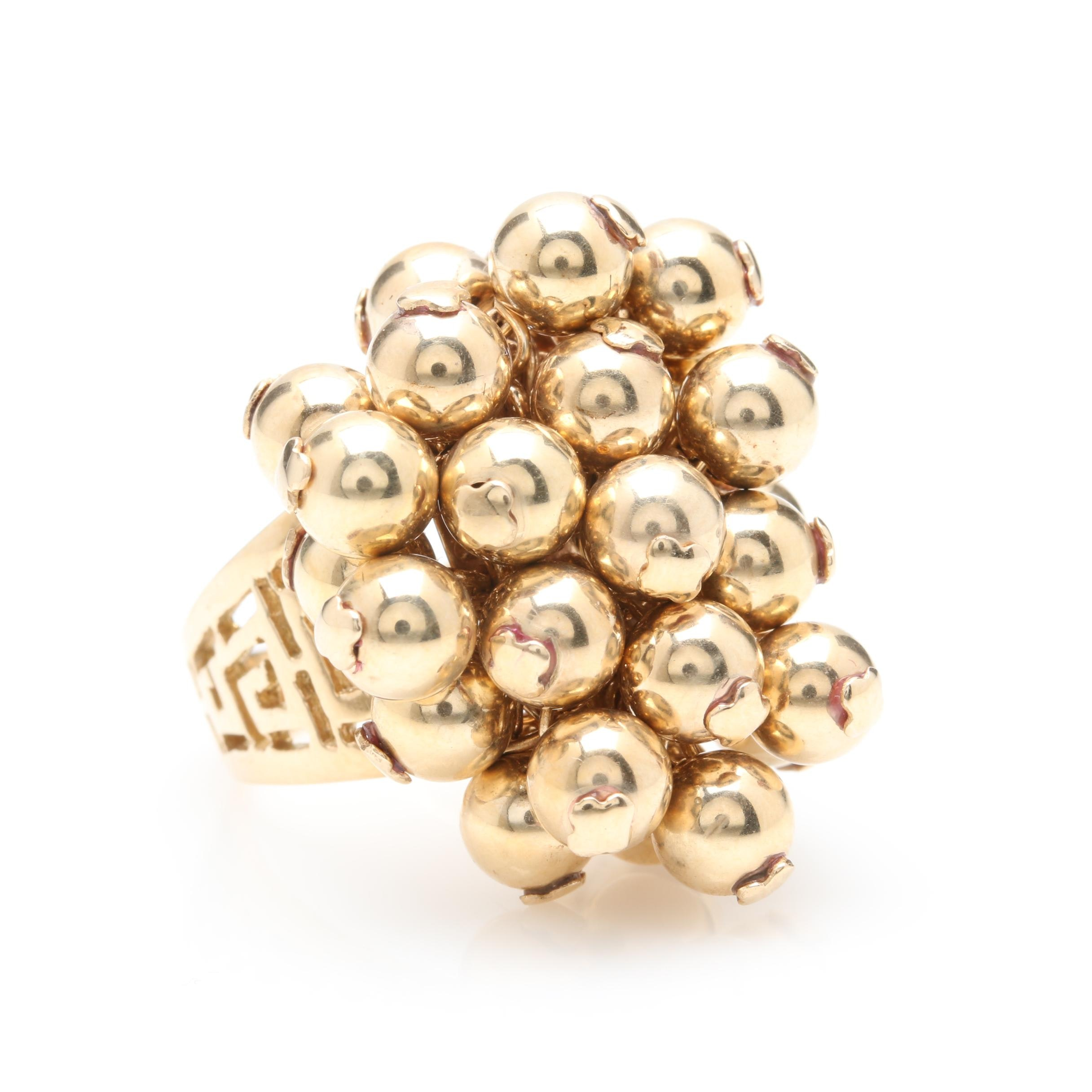 14K Yellow Gold Sphere Beaded Ring