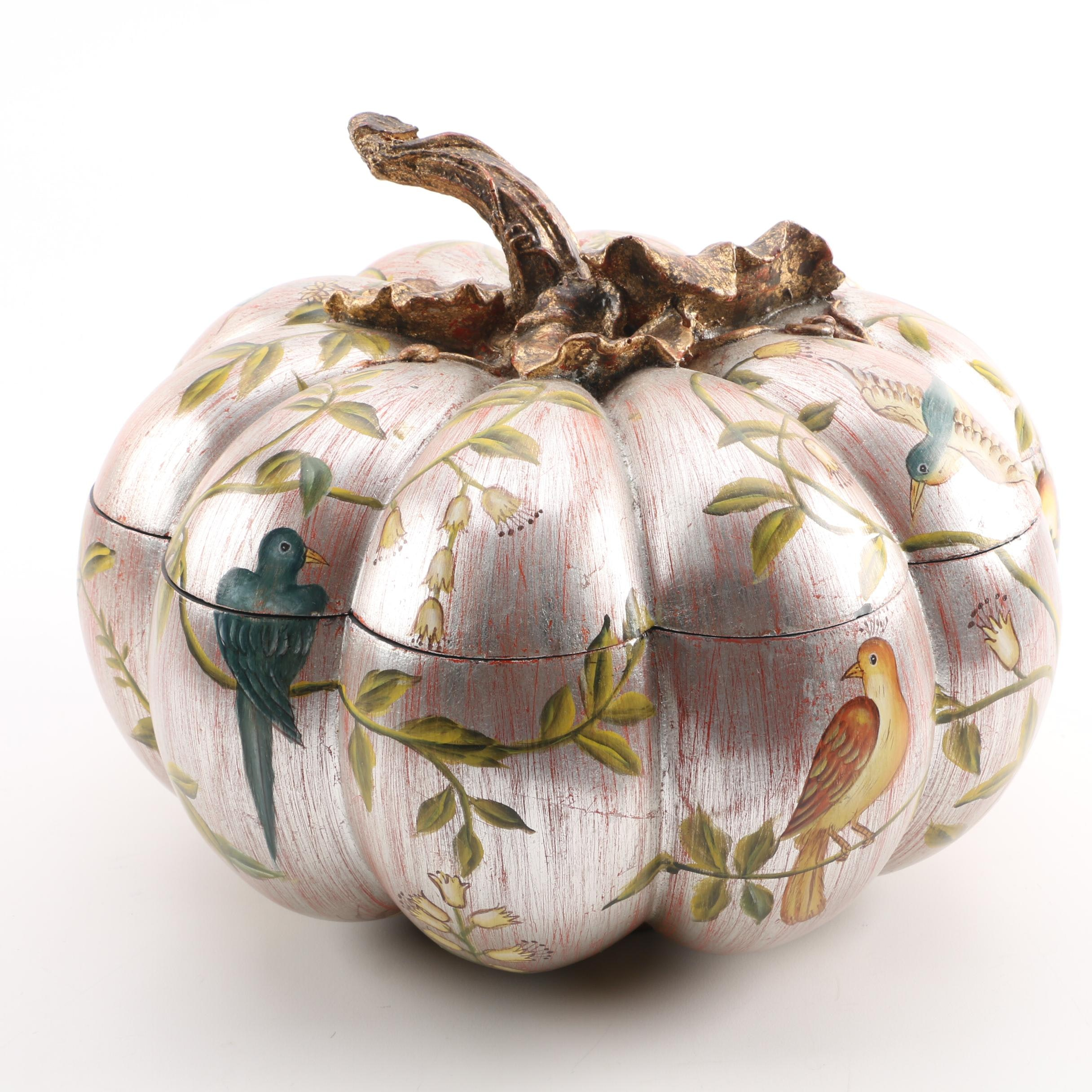 Decorative Resin Pumpkin Shaped Container