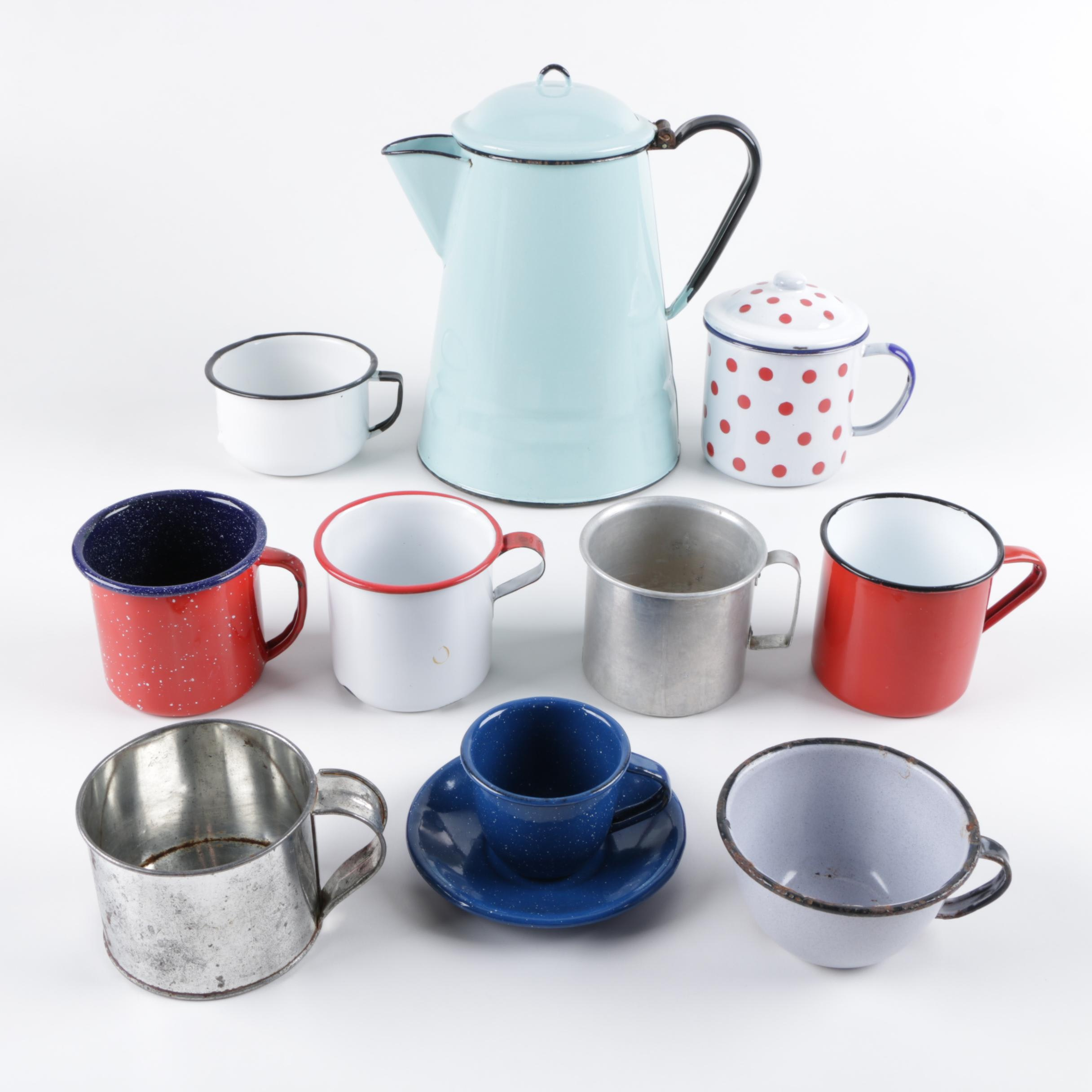 Vintage Enameled Metal Teapot and Mugs