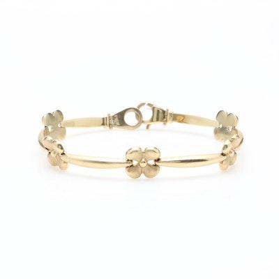 94940203aaf 14K Yellow Gold Floral Bracelet