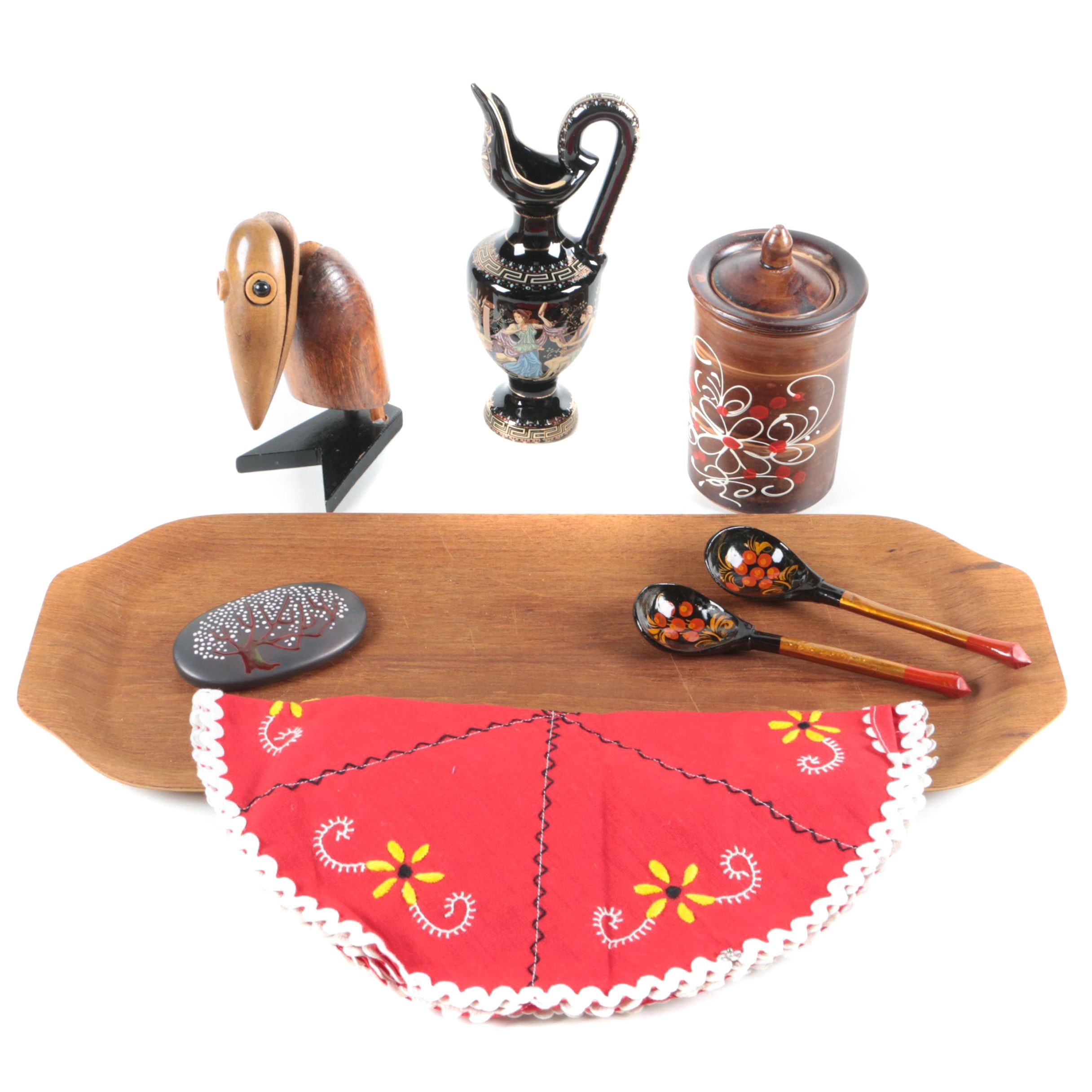 Teak Serving Tray, Greek Ceramic Urn, Russian Lacquer Spoons and More