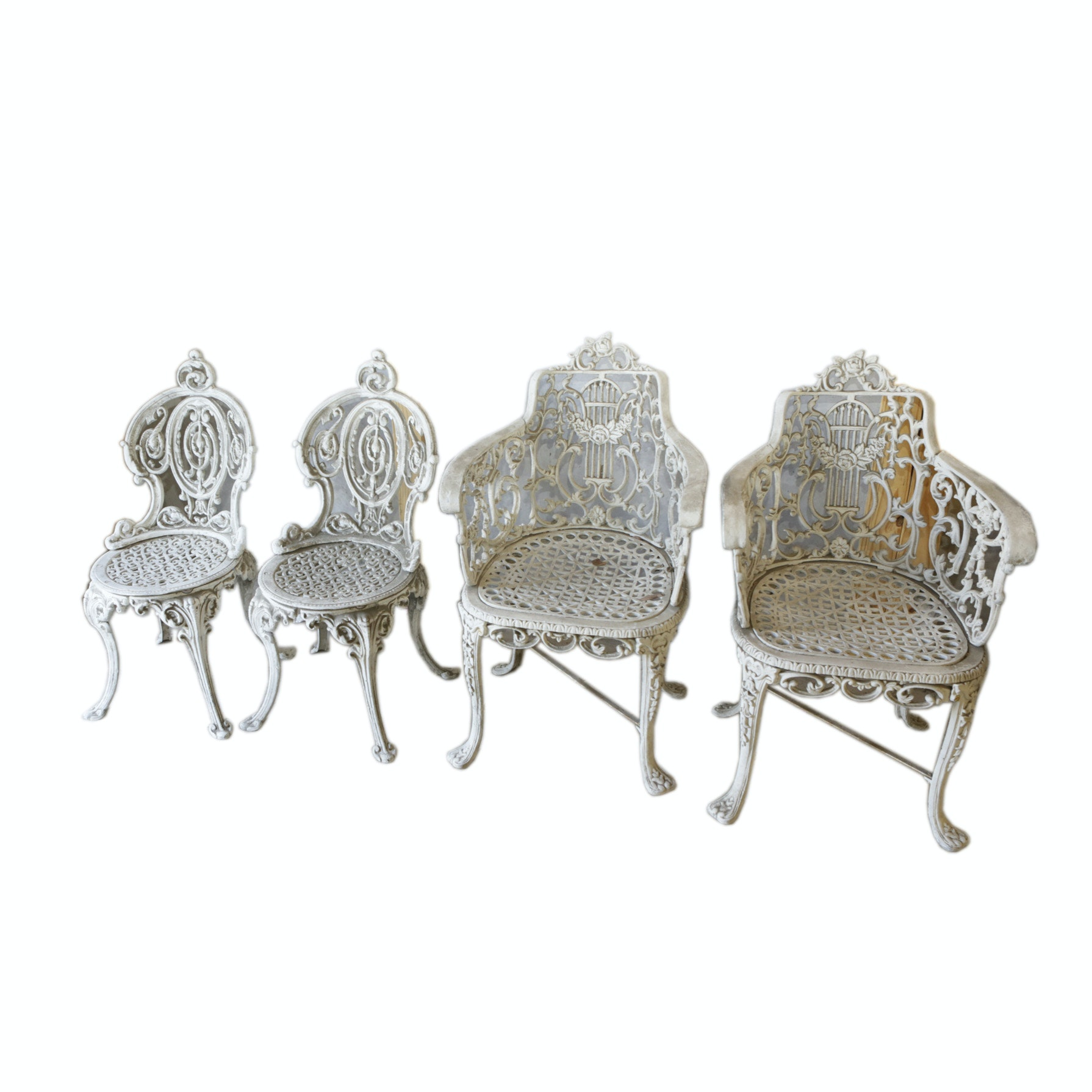 Victorian Style Cast Metal Garden Chairs