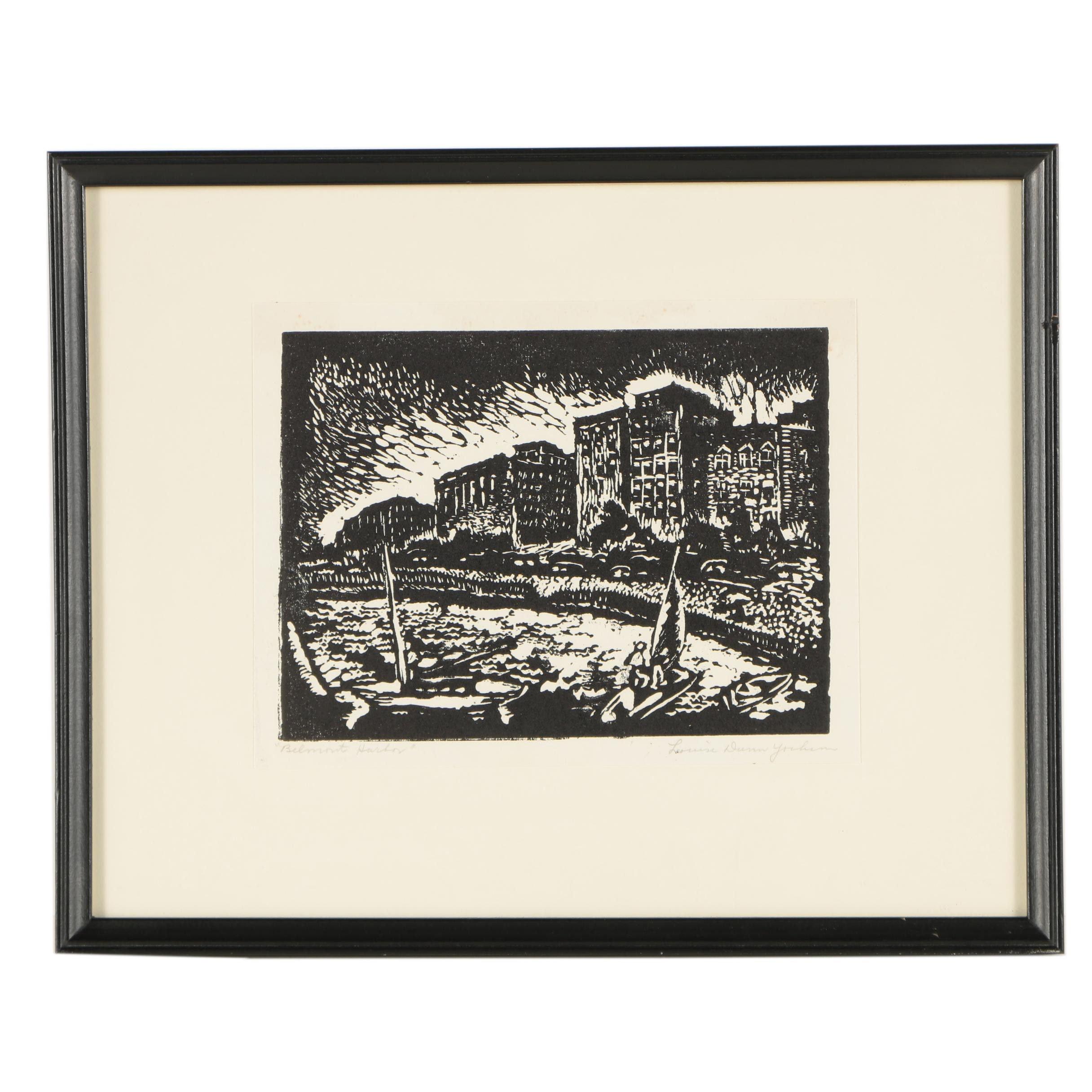 "Louise Dunn Yochim Mid-Century Woodcut Print ""Belmont Harbor"""