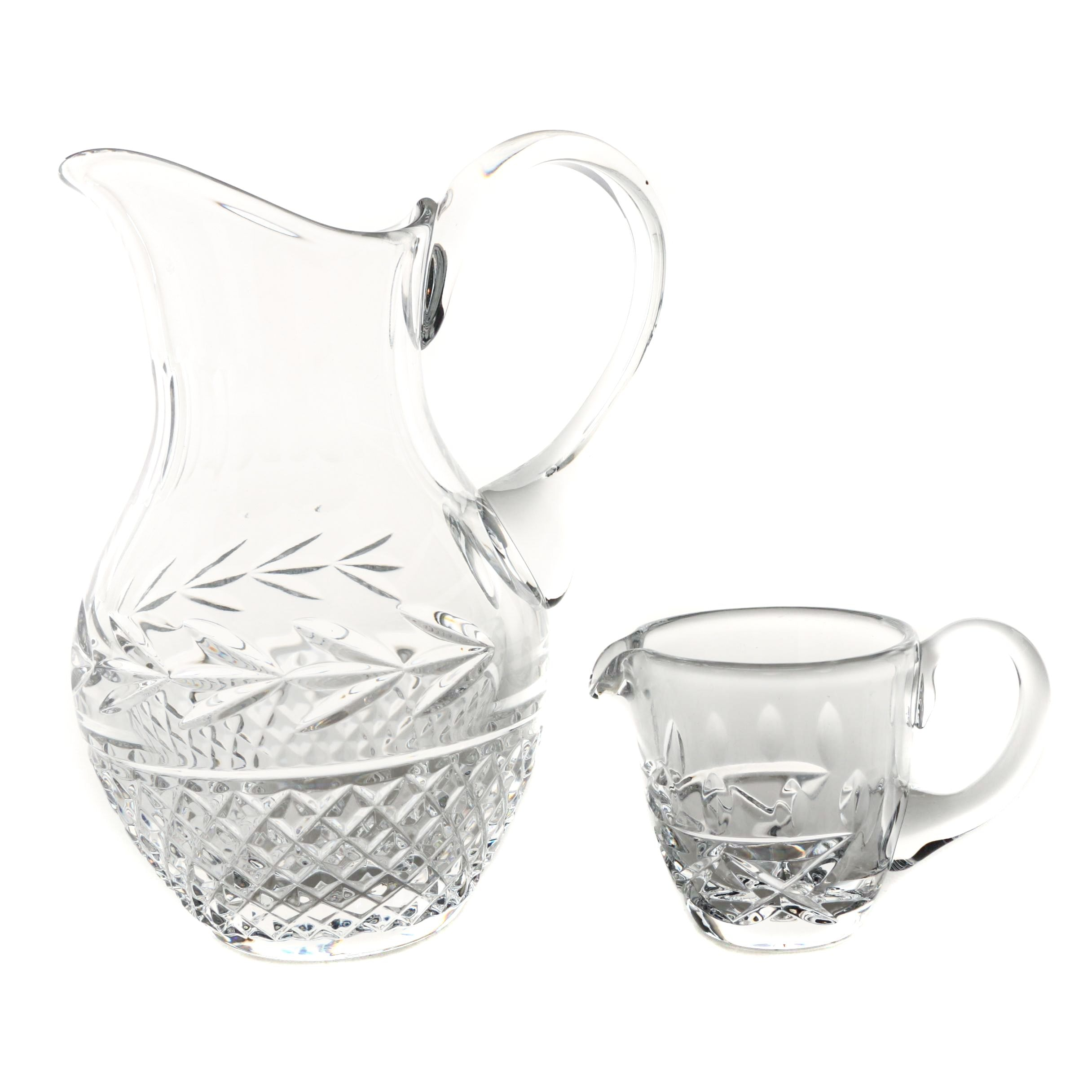 "Galway Irish Crystal ""Leah"" Pitcher and Creamer"