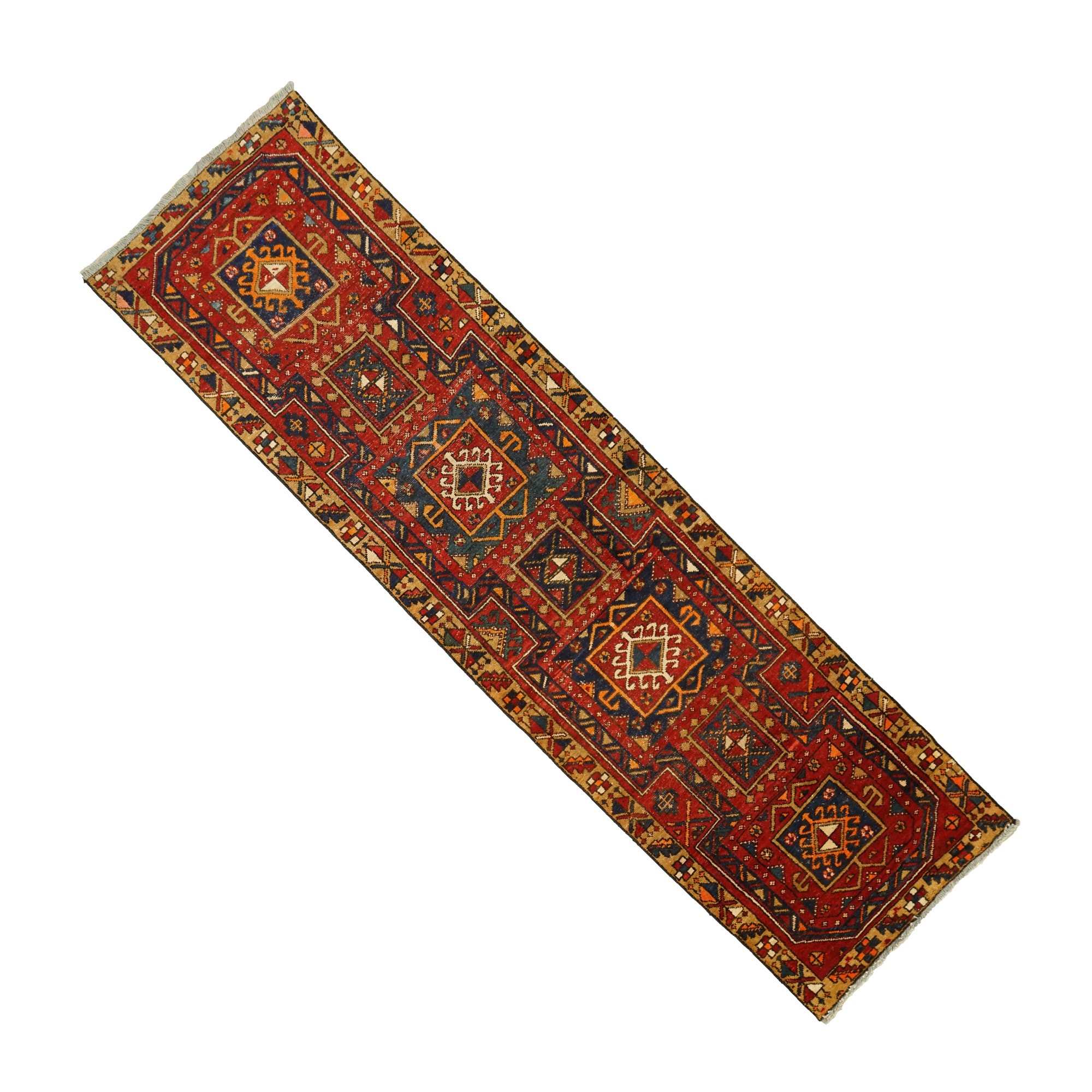 Hand-Knotted Caucasian Wool Carpet Runner