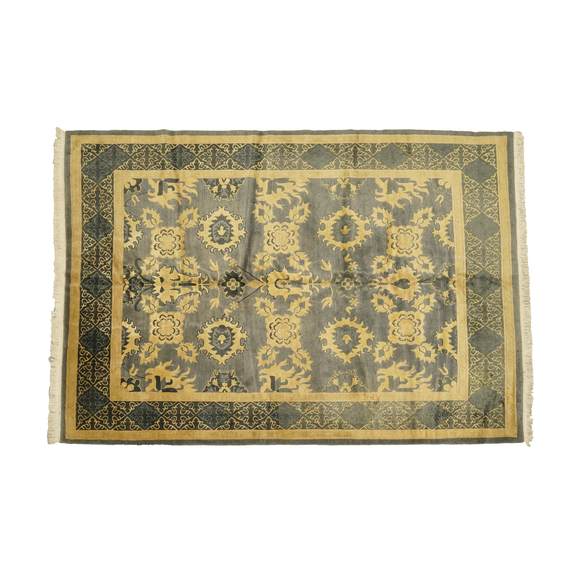 Hand-Knotted and Carved Nepalese Tibetan Area Rug