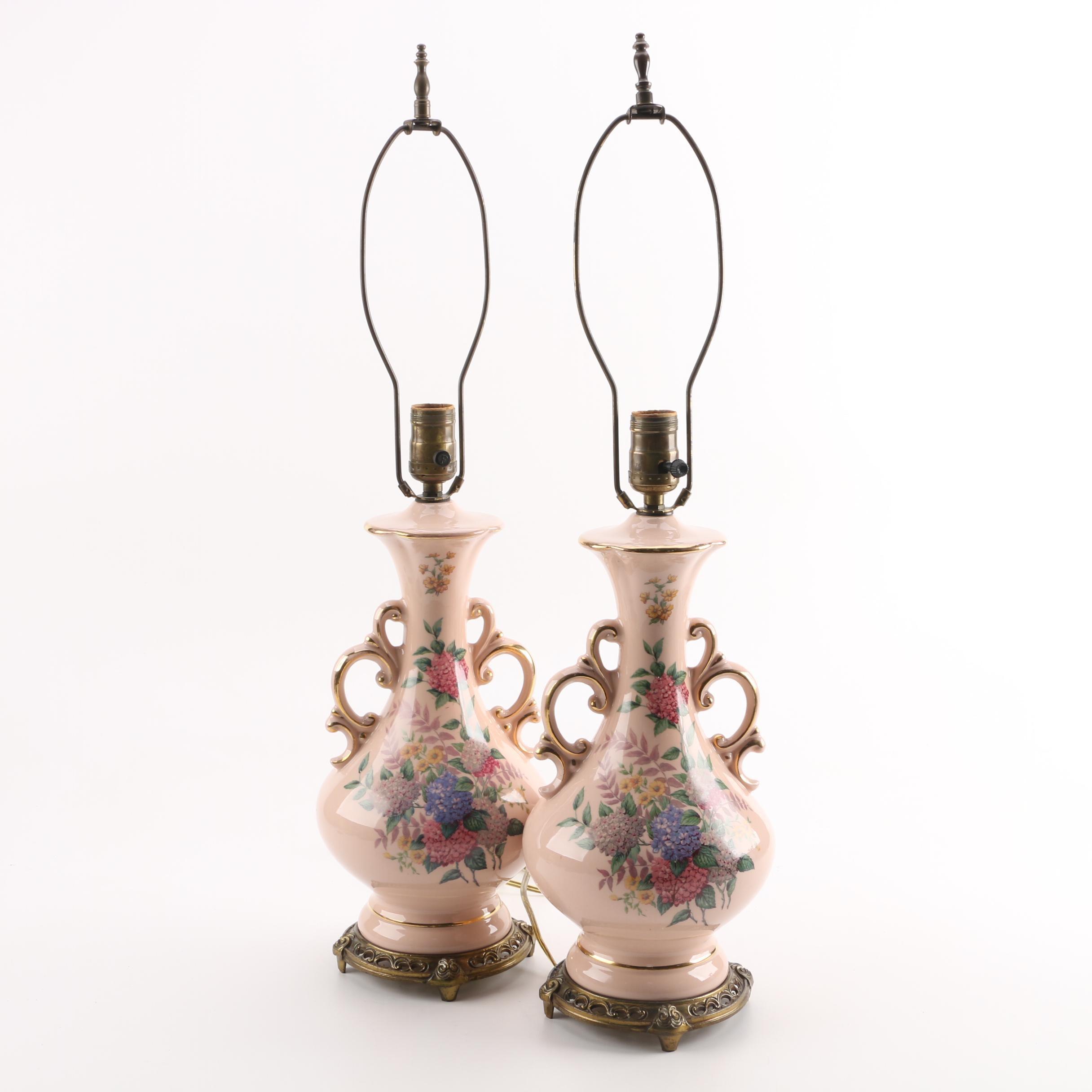 Pair Of Vintage Porcelain Table Lamps