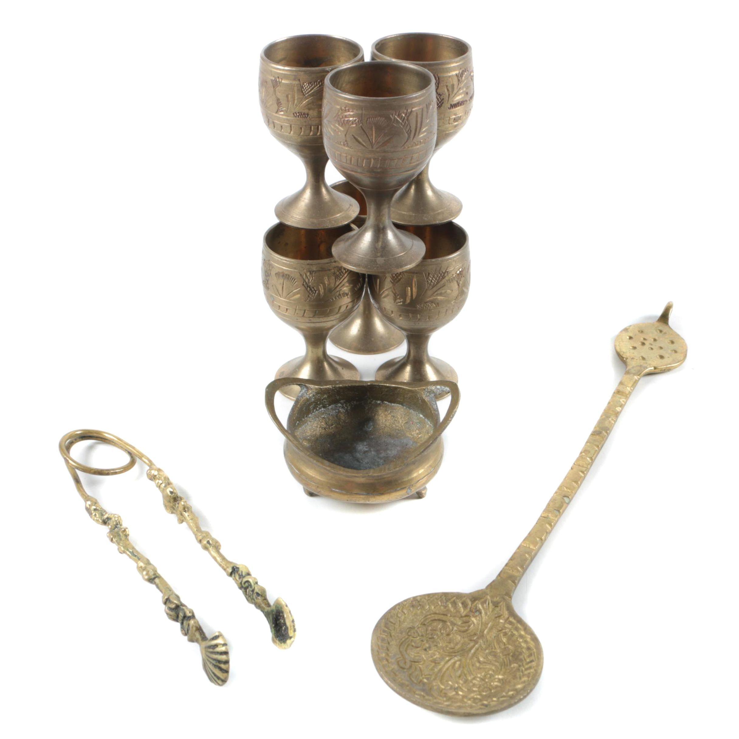 Indo-Persian Brass Wind Goblets with Spoon and Tongs